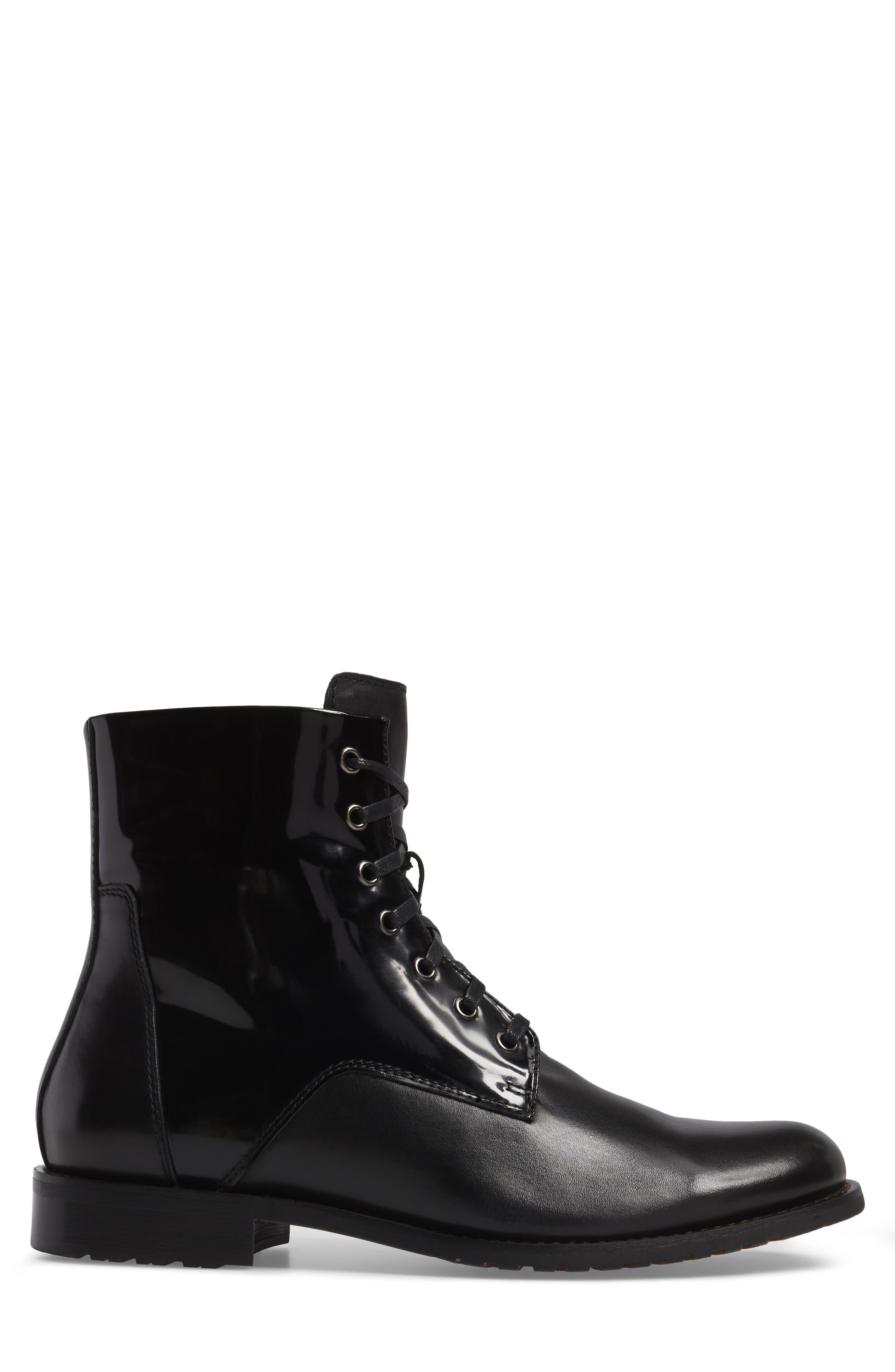 Athol Plain Toe Boot,                             Alternate thumbnail 3, color,                             Black Leather