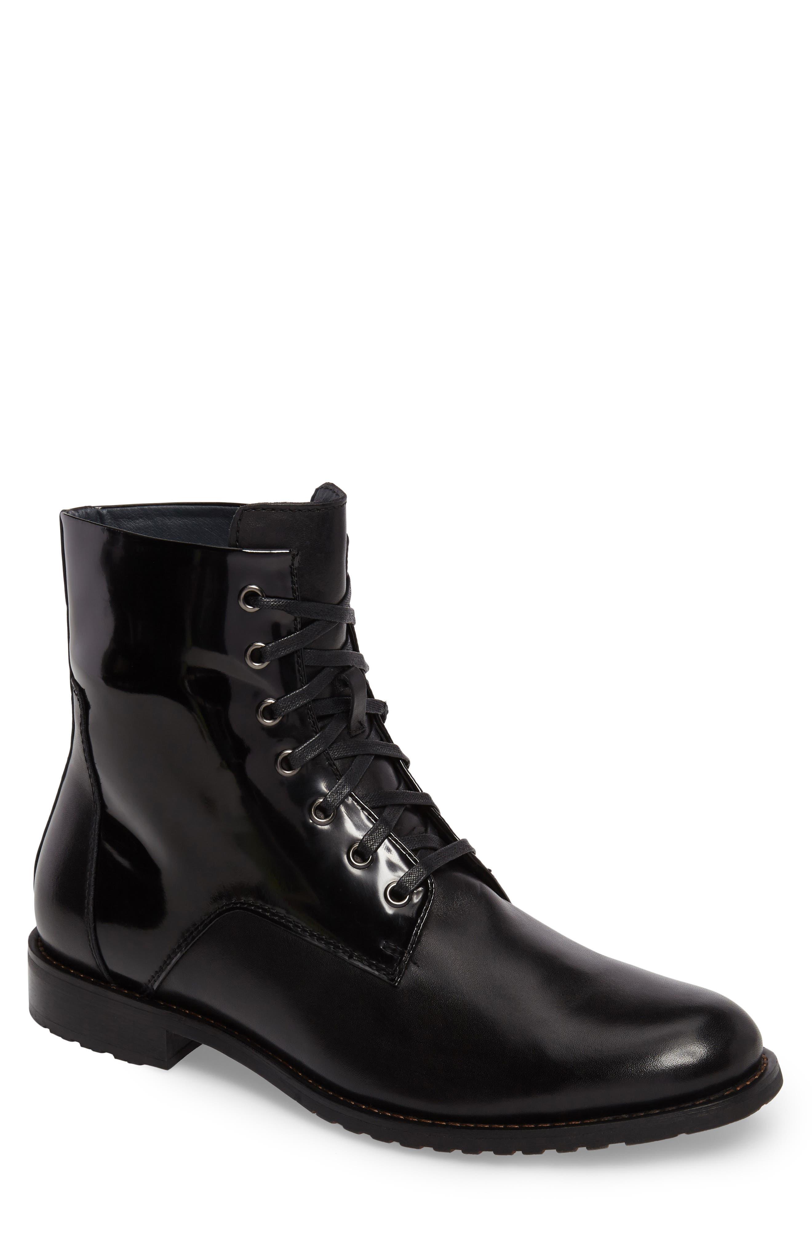 Athol Plain Toe Boot,                             Main thumbnail 1, color,                             Black Leather