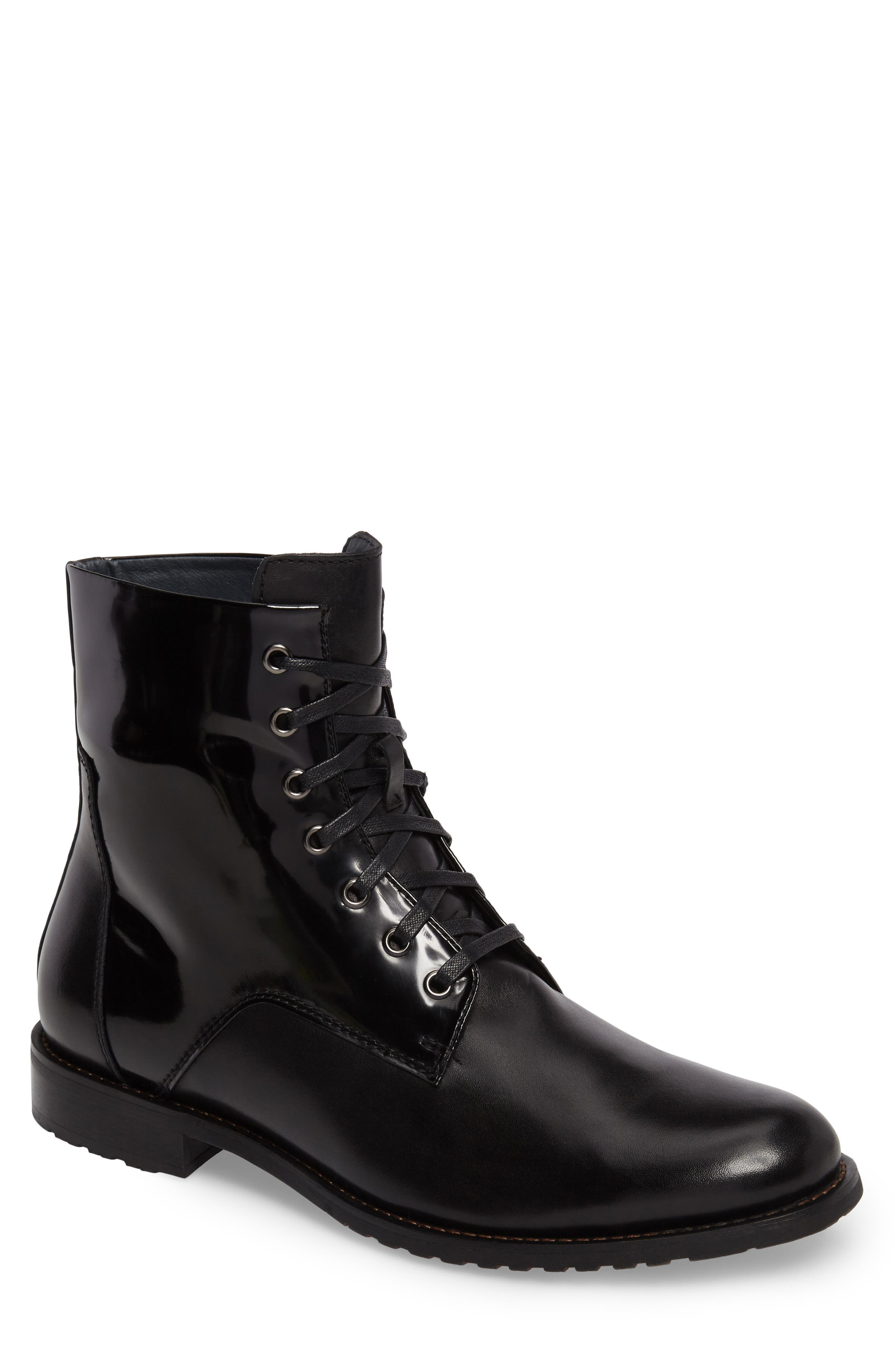 Athol Plain Toe Boot,                         Main,                         color, Black Leather