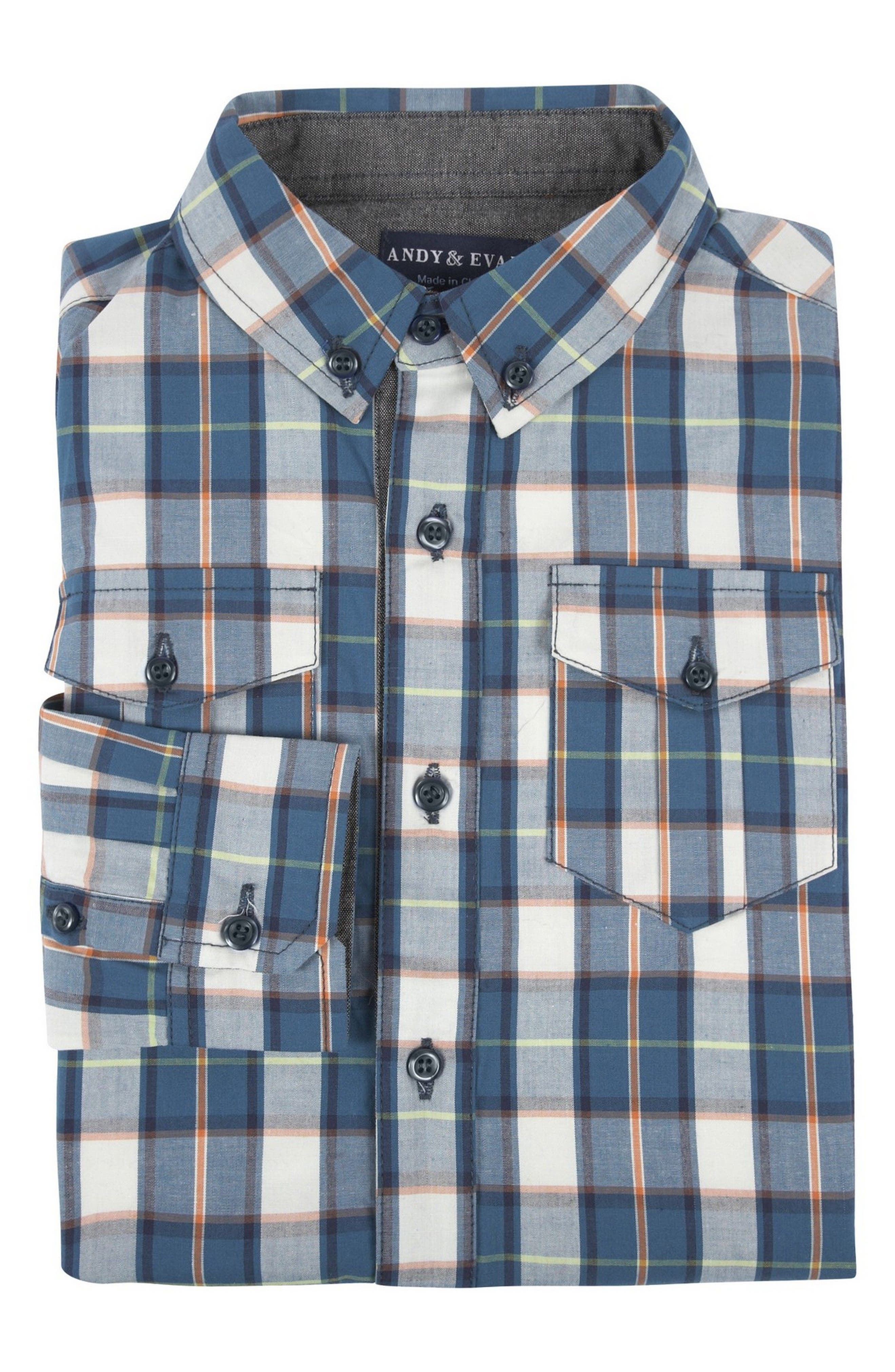 Alternate Image 1 Selected - Andy & Evan Plaid Shirtzie Bodysuit (Baby Boys)
