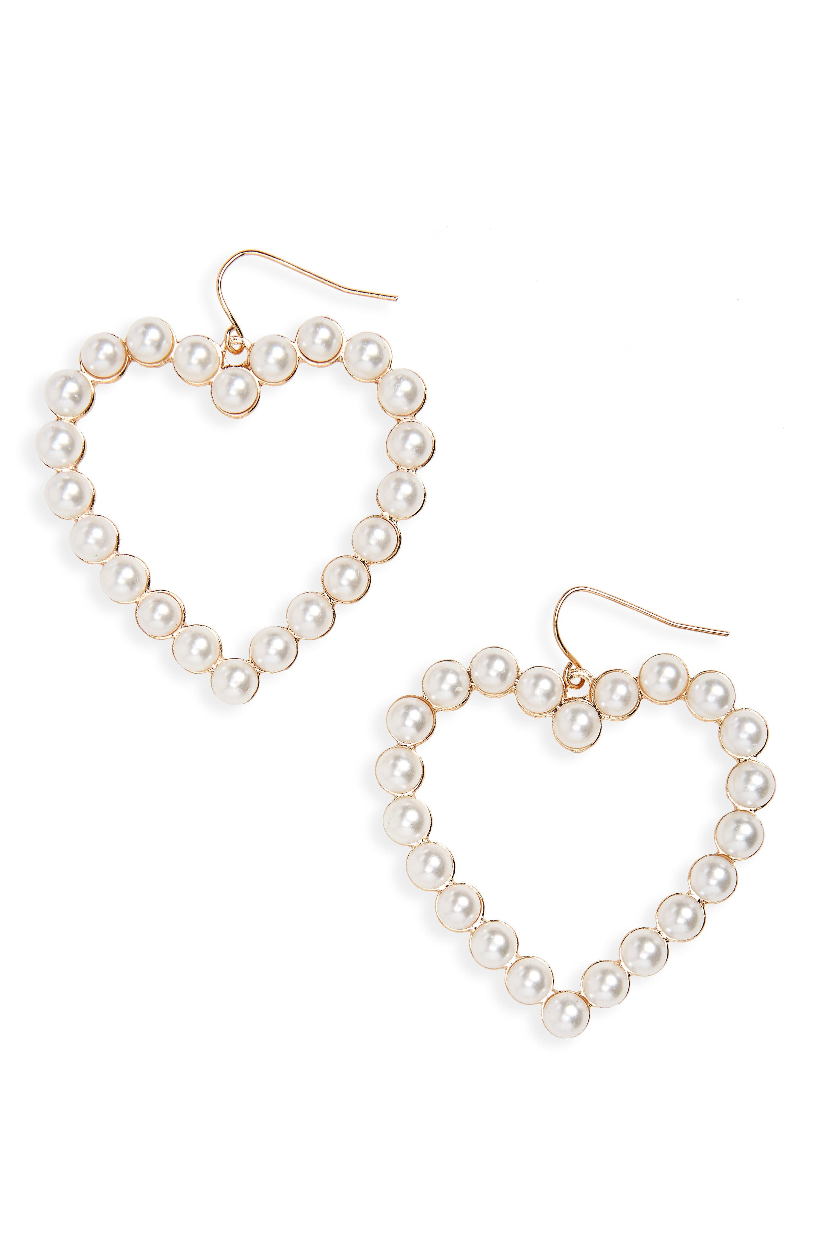 BP. Imitation Pearl Heart Earrings