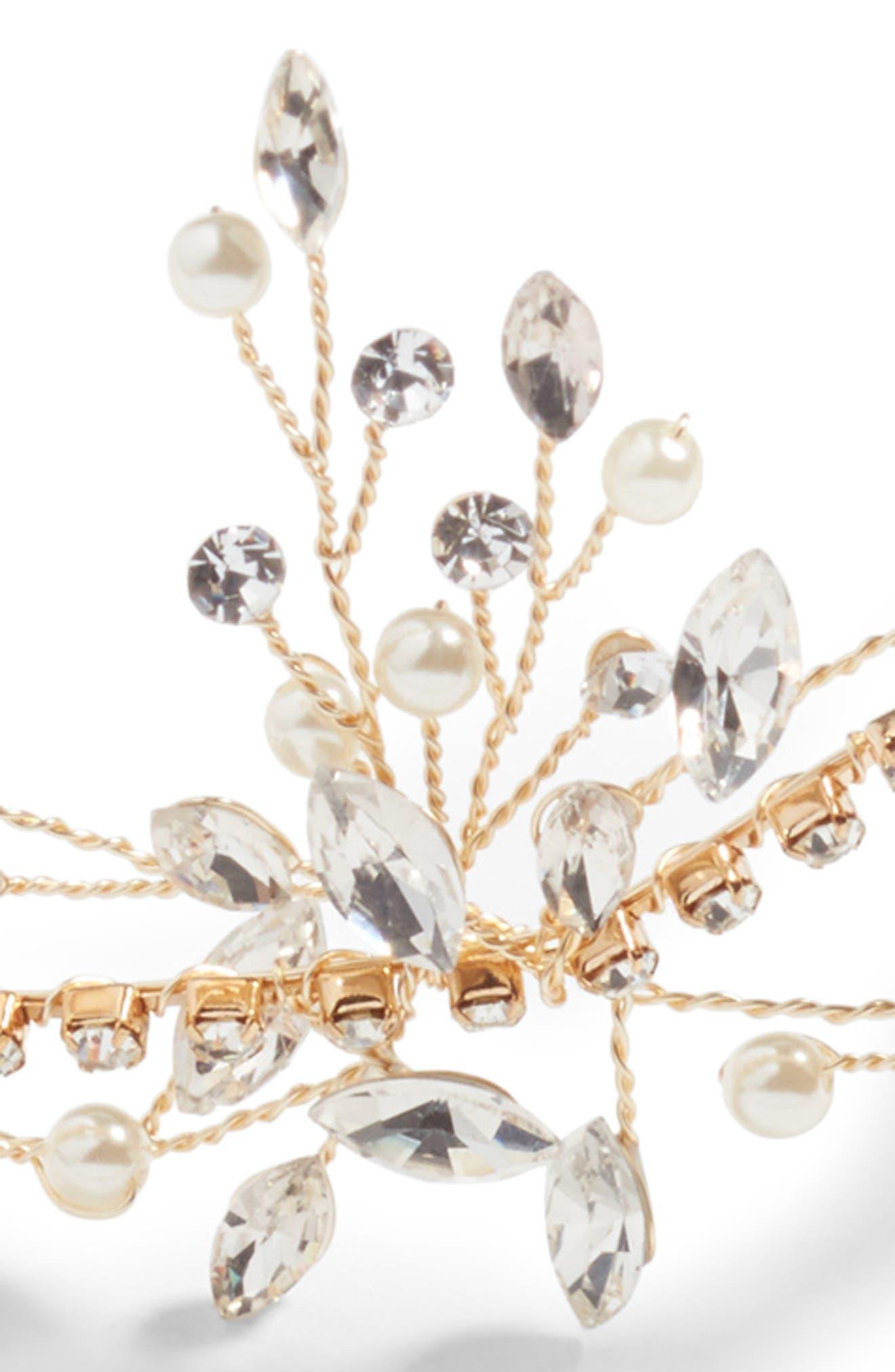 Morisette Crystal & Imitation Pearl Headband,                             Alternate thumbnail 3, color,                             Gold