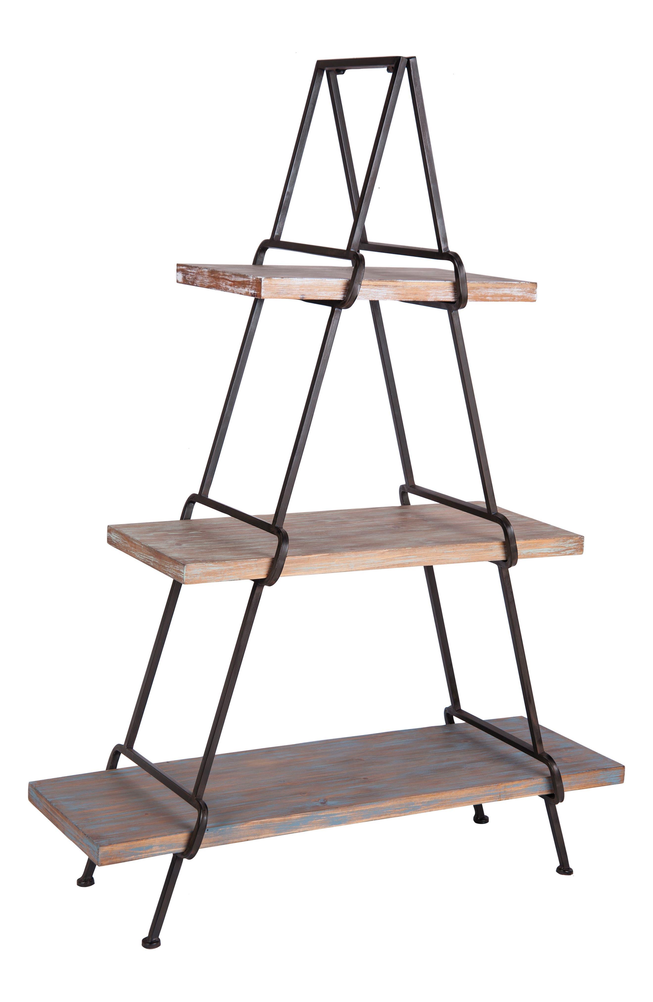 A-Frame Shelf,                             Main thumbnail 1, color,                             Metal/ Wood