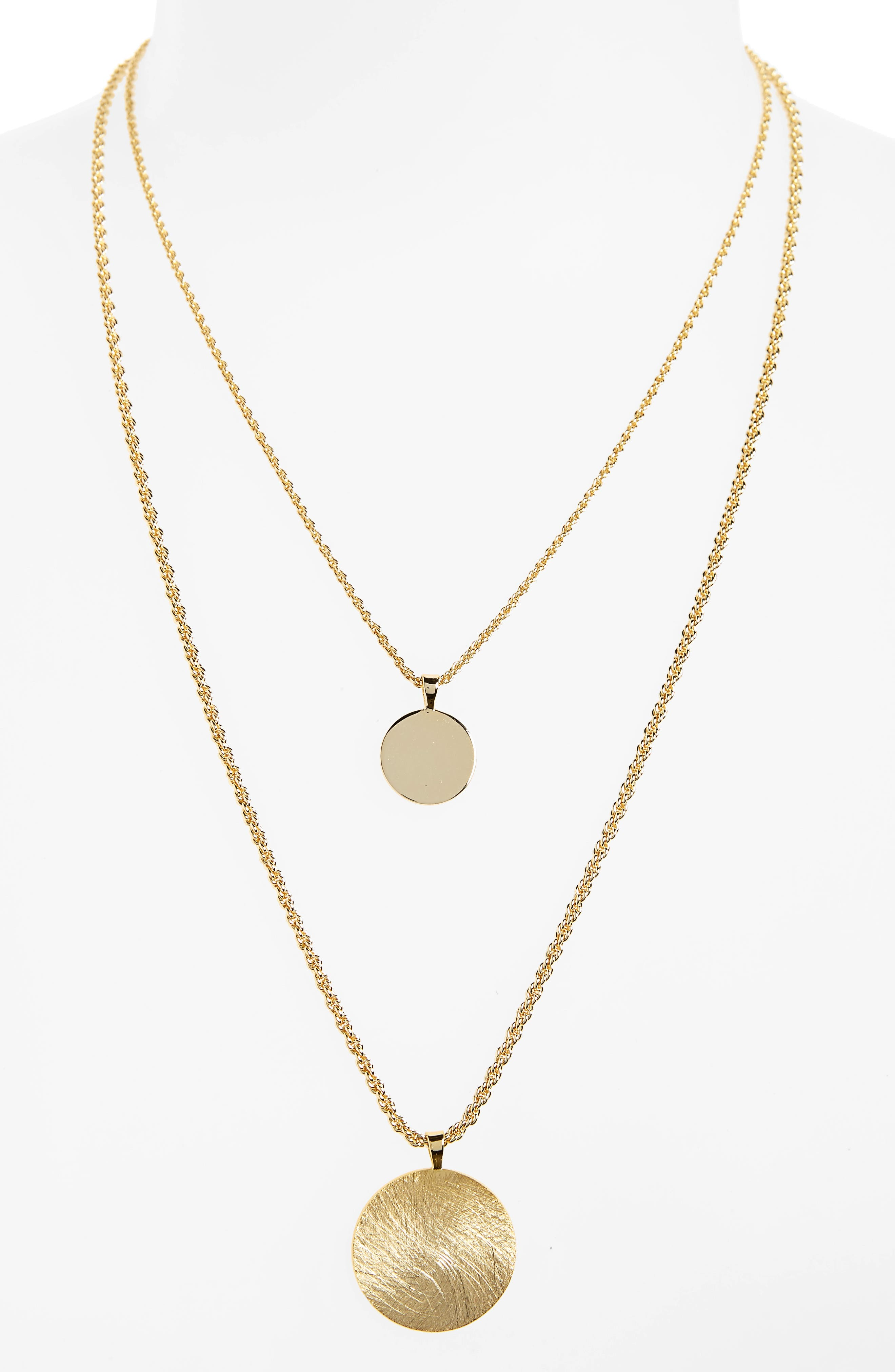 Double Layer Necklace,                         Main,                         color, Gold