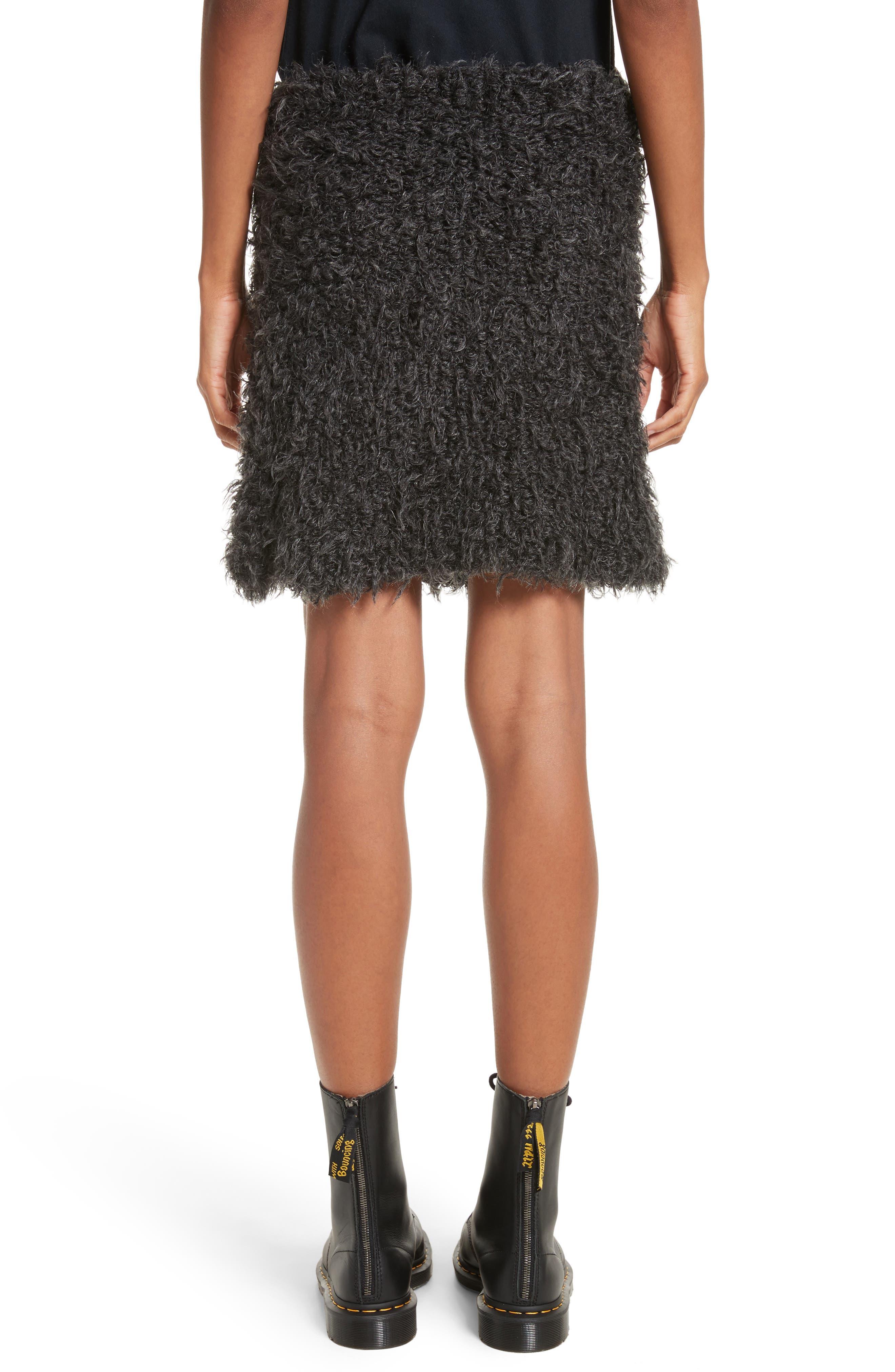 Fuzzy Miniskirt,                             Alternate thumbnail 2, color,                             Charcoal