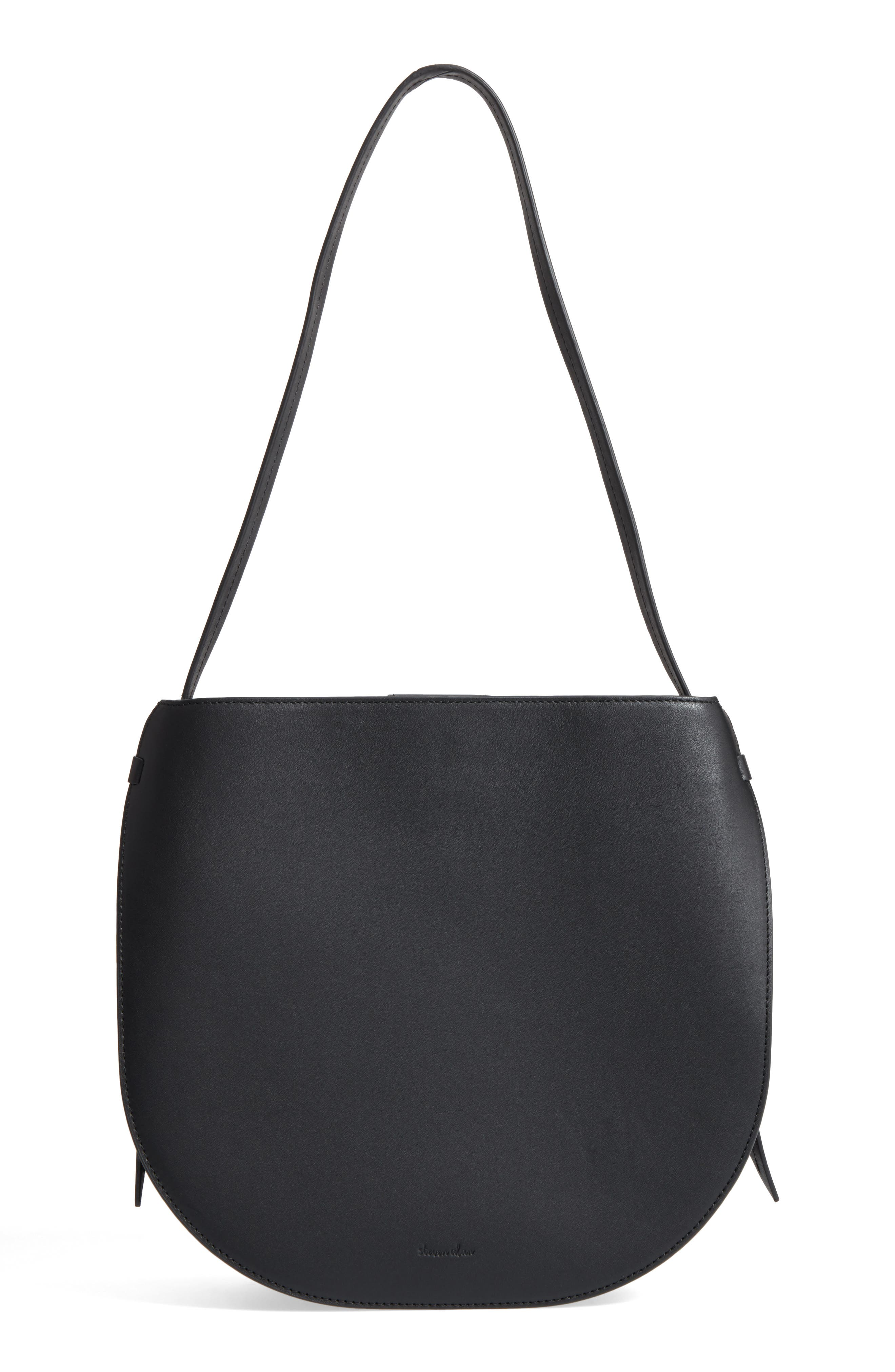 Helena Half Moon Leather Shoulder Bag,                             Main thumbnail 1, color,                             Black