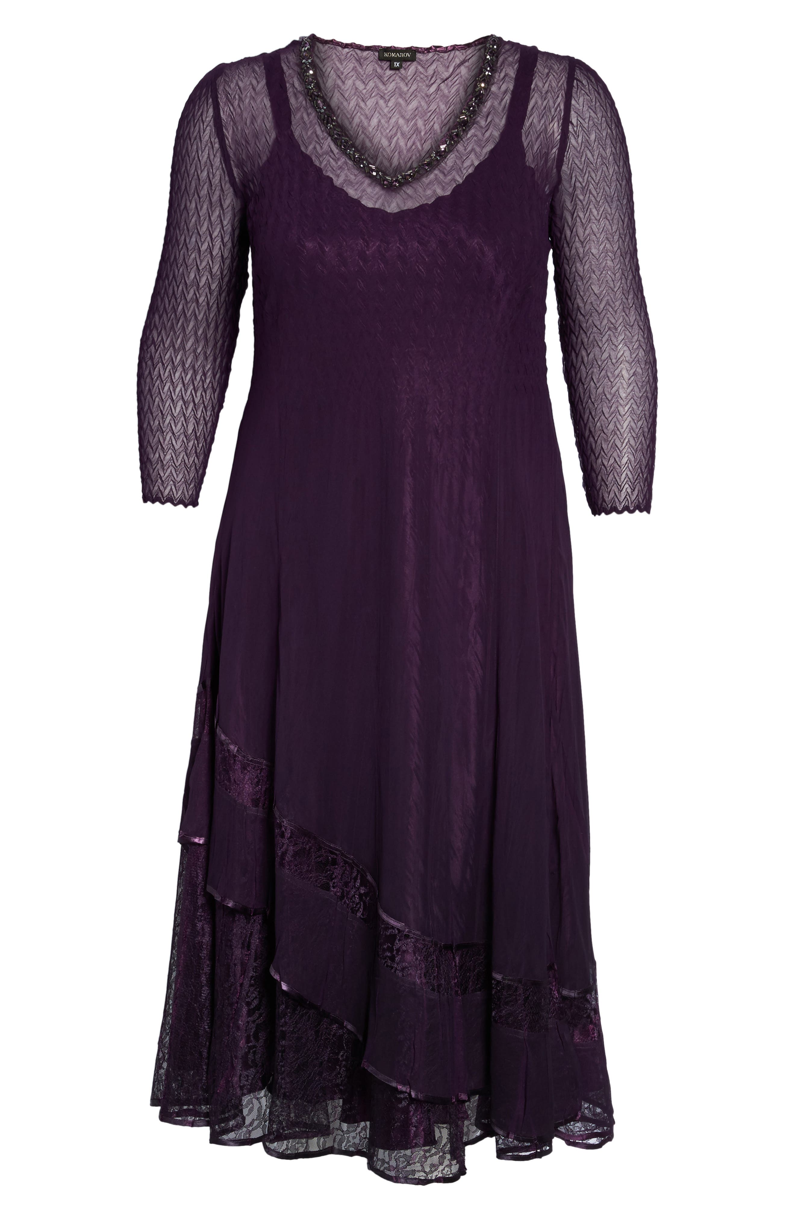 Chiffon Layer Charmeuse Dress,                             Alternate thumbnail 6, color,                             Aubergine