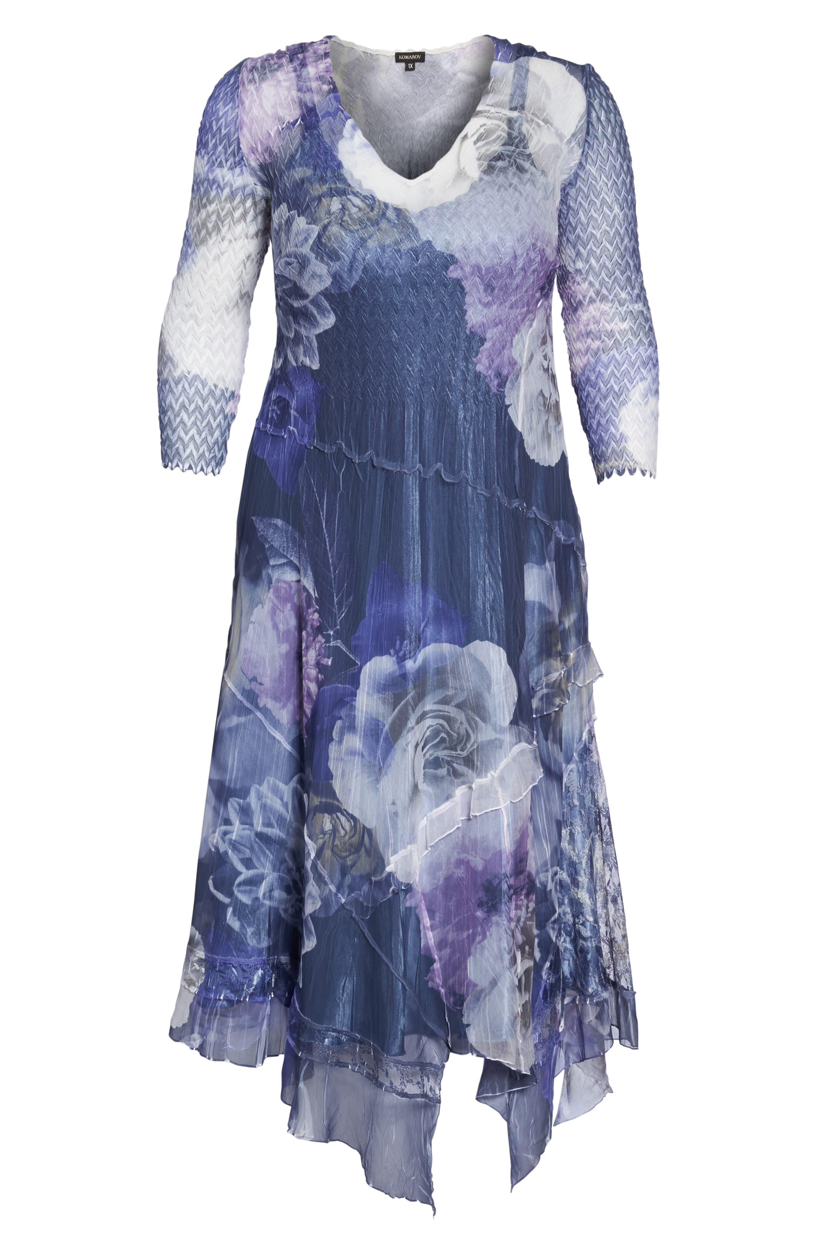 Chiffon Handkerchief Hem Dress,                             Alternate thumbnail 6, color,                             Indigo Shadow