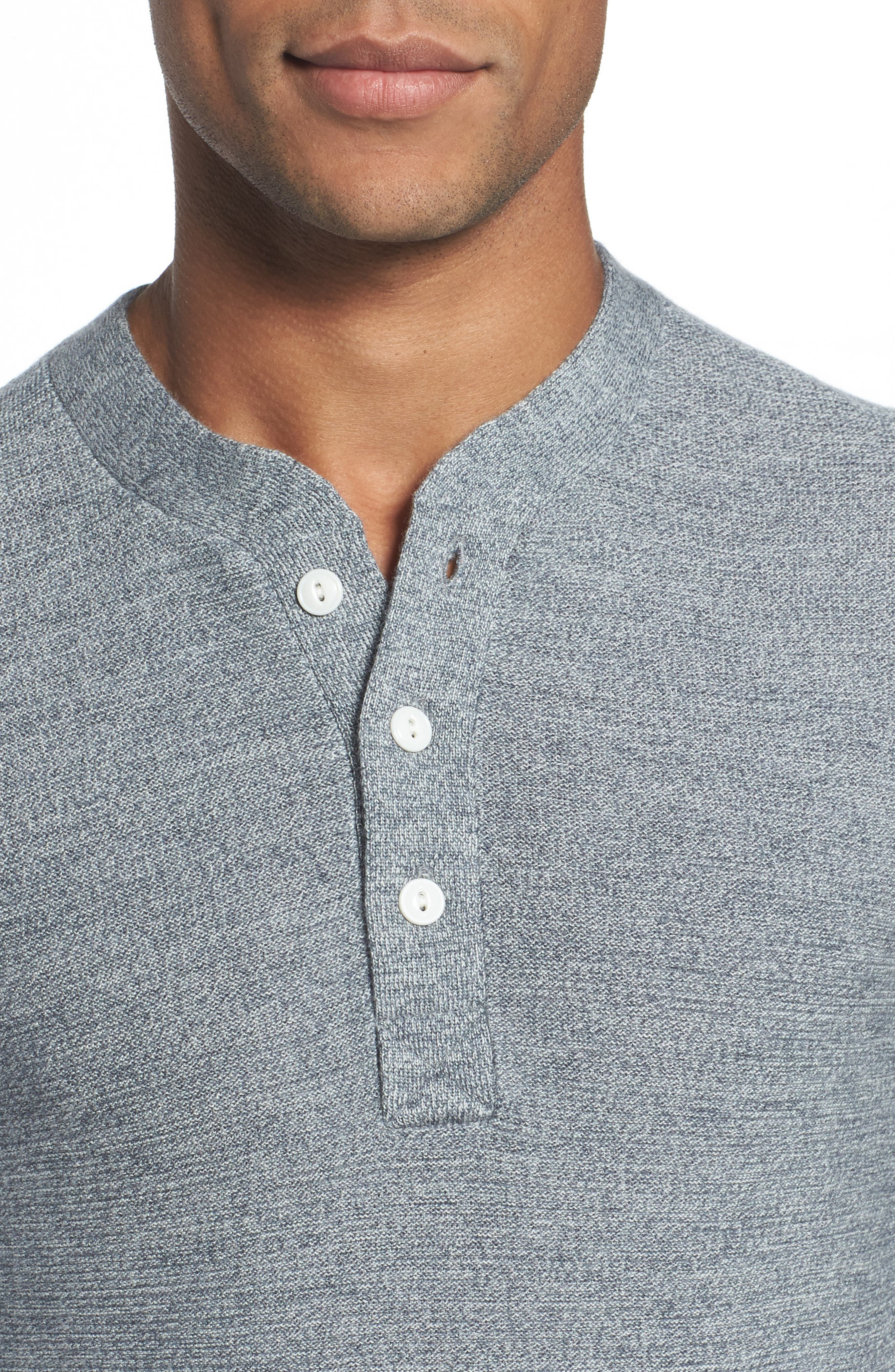 Merino Wool Knit Henley,                             Alternate thumbnail 4, color,                             Heather Grey