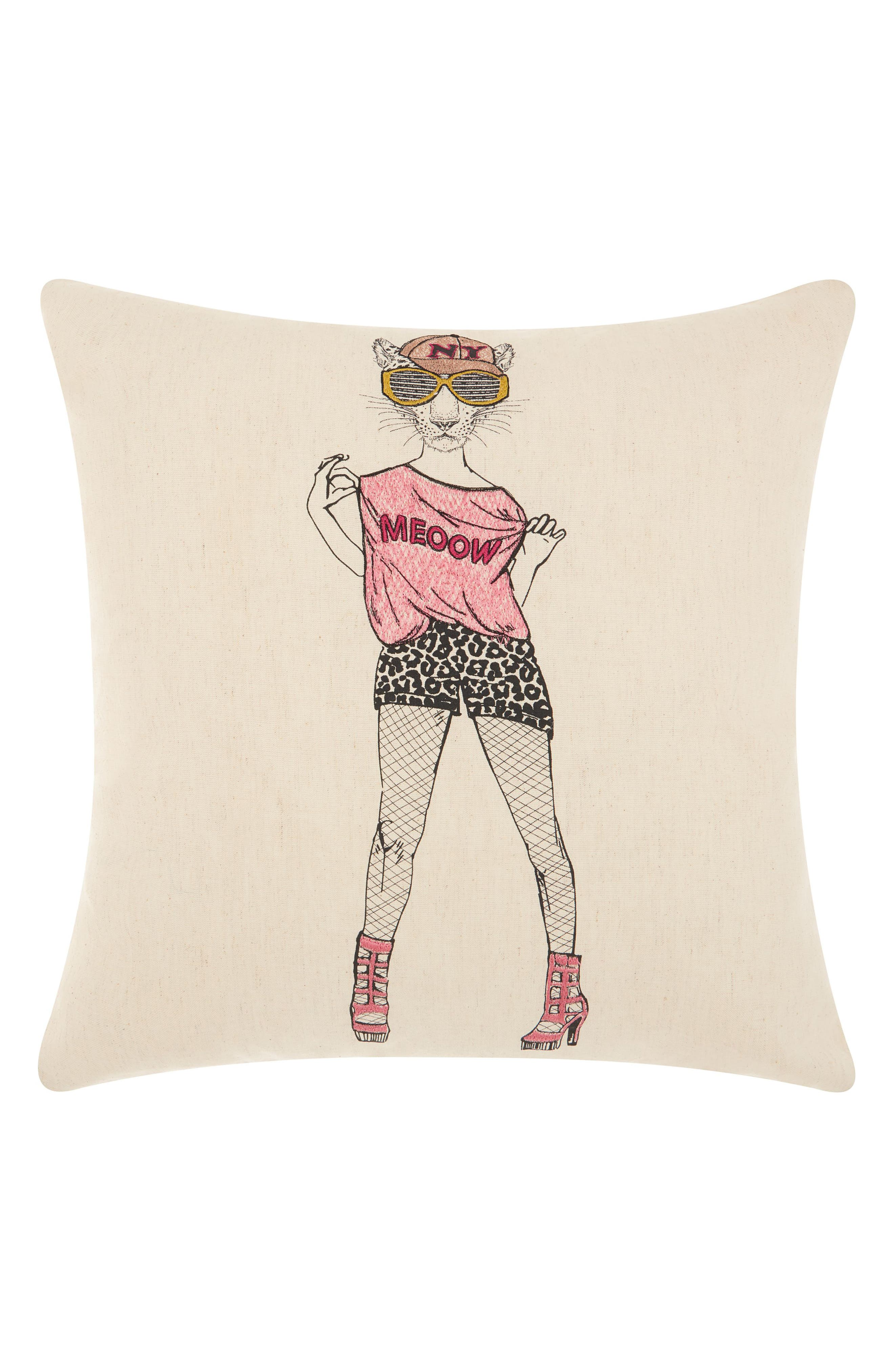Main Image - Mina Victory Fishnet Snow Leopard Accent Pillow