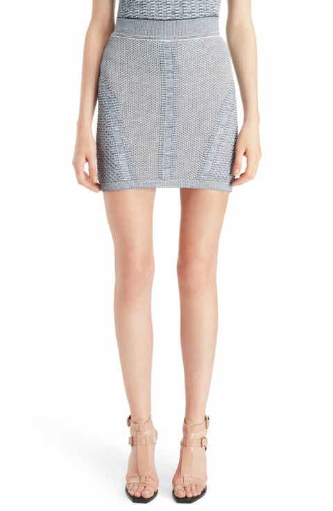 Balmain Tweed Effect Knit Miniskirt