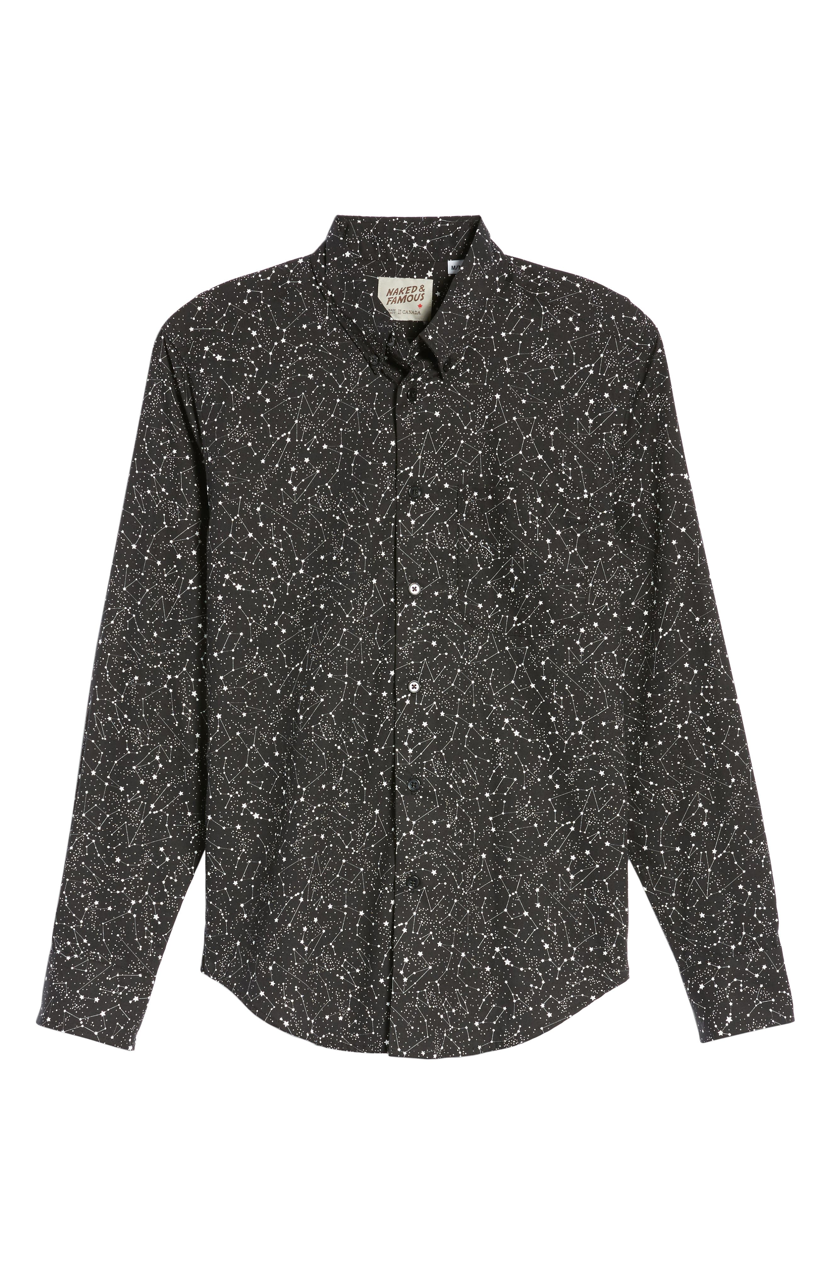Constellations Shirt,                             Alternate thumbnail 6, color,                             Black