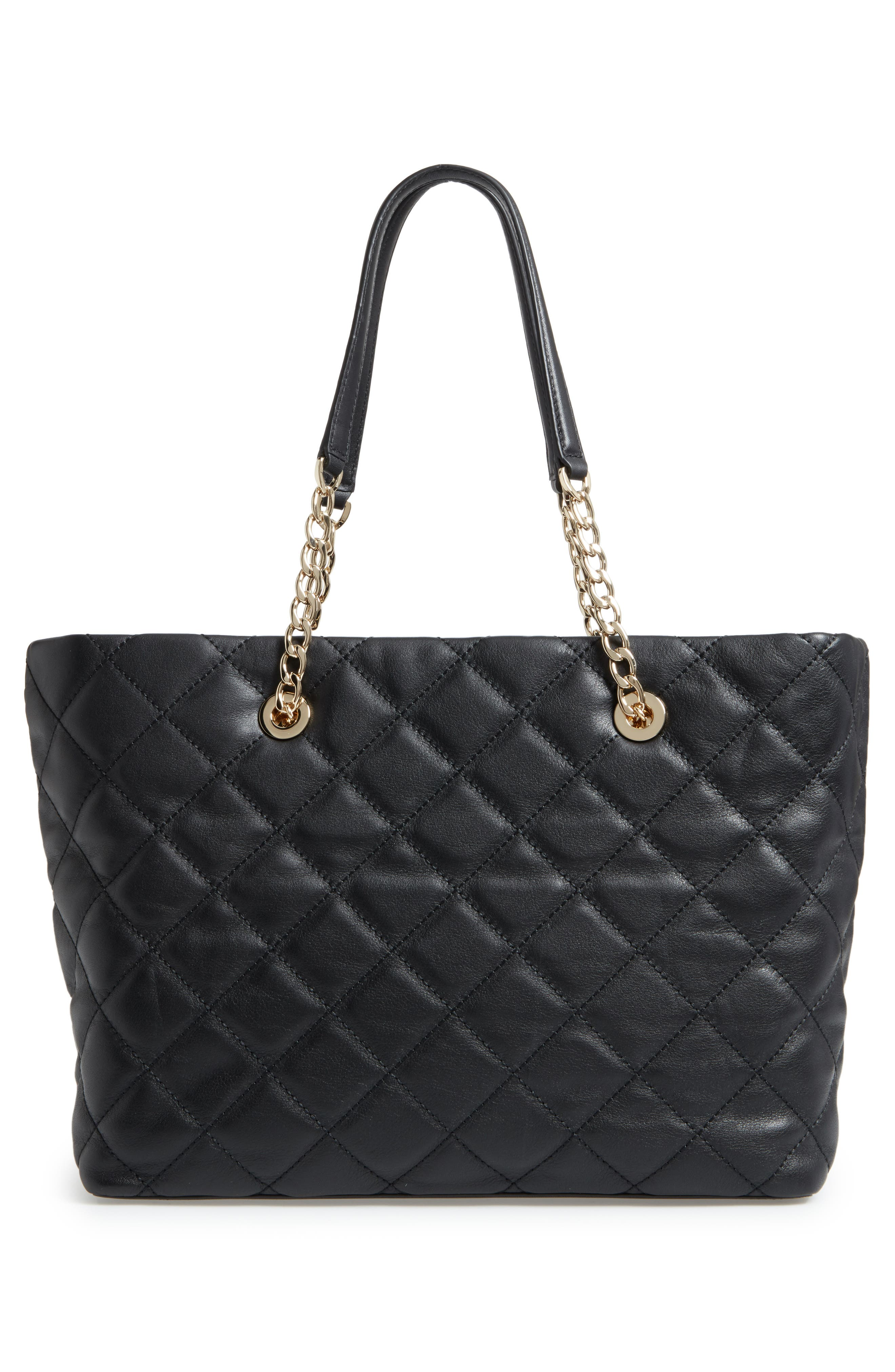 emerson place - priya quilted leather tote,                             Alternate thumbnail 3, color,                             Black