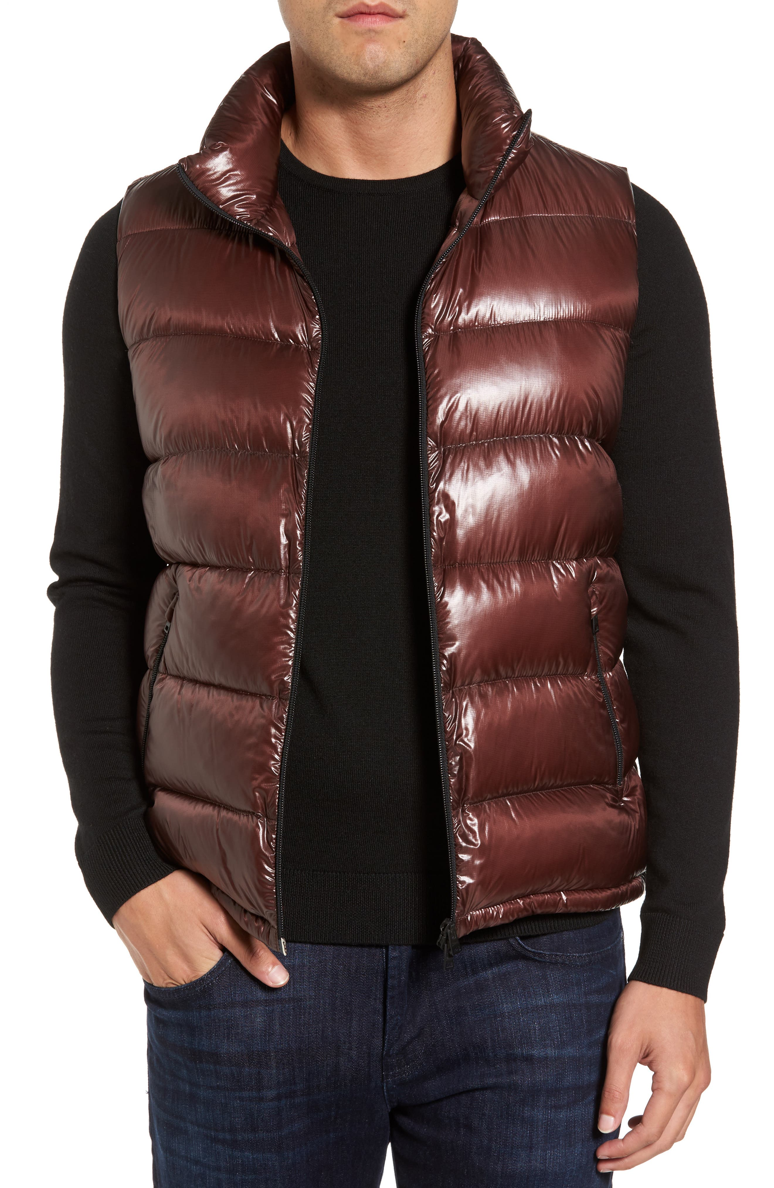Quilted Down Vest,                         Main,                         color, Cordovan