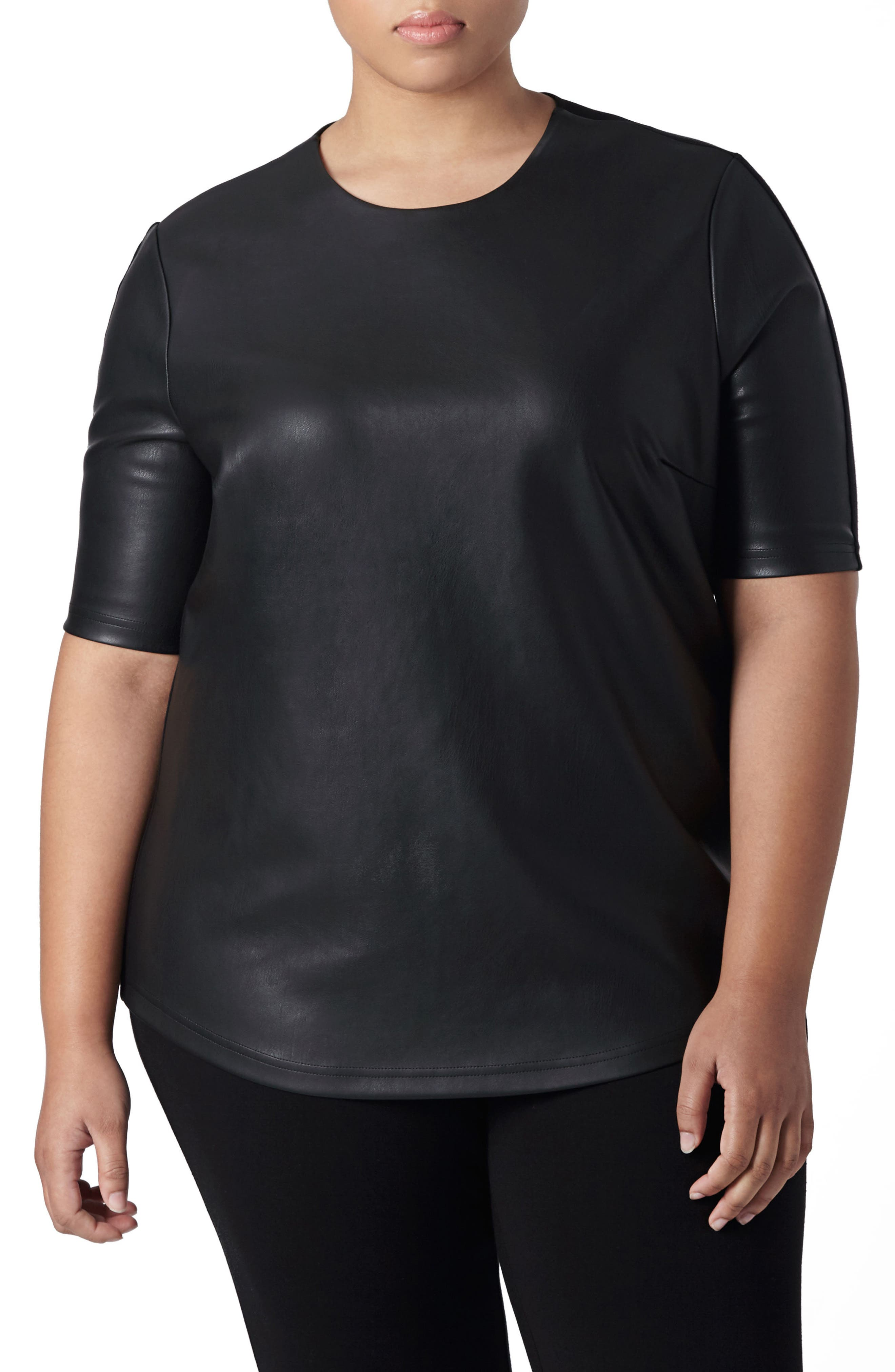 Piave Faux Leather Top,                         Main,                         color, Black
