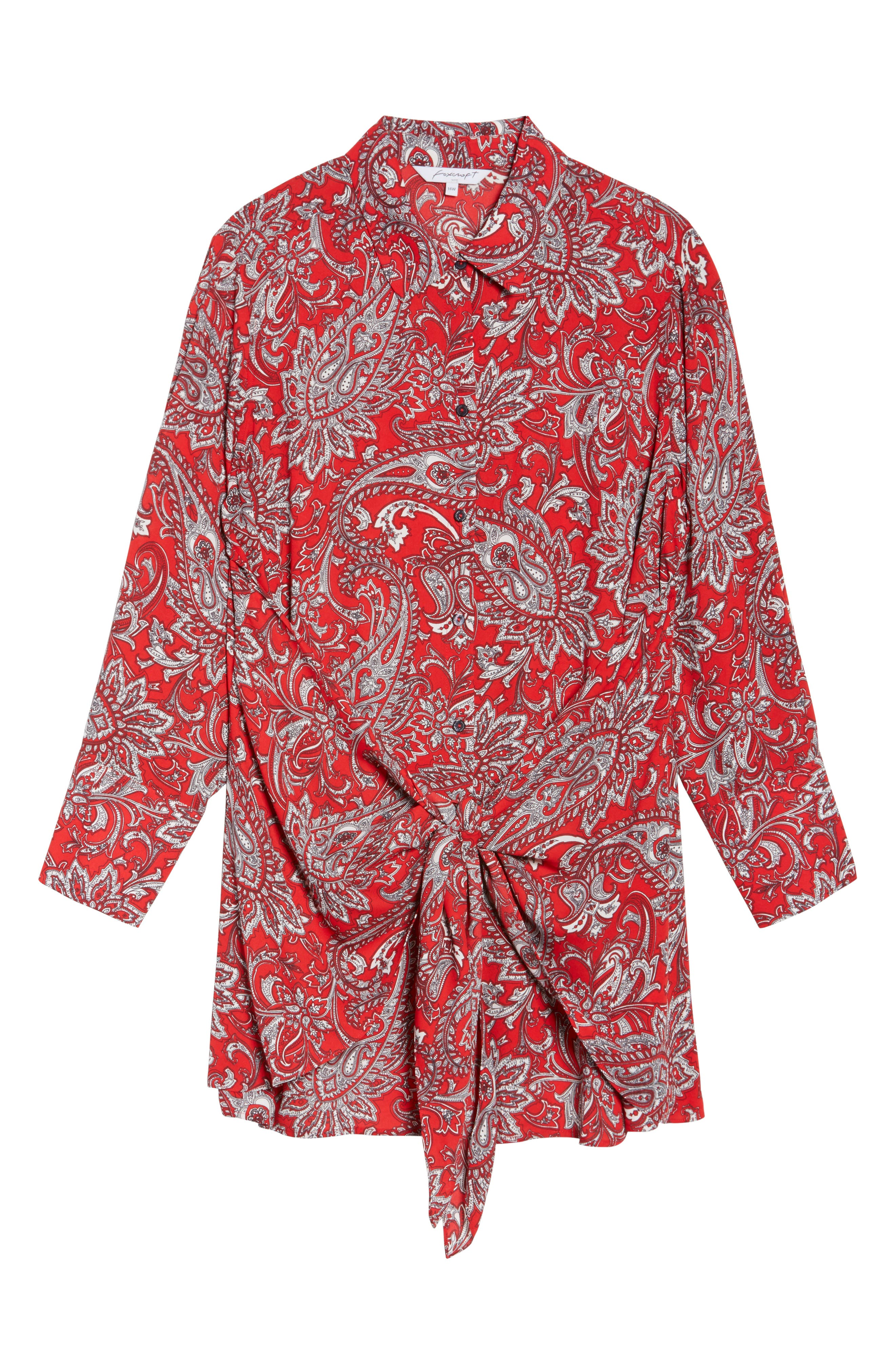 Serena Romantic Paisley Knotted Crepe Tunic Blouse,                             Alternate thumbnail 6, color,                             Red Multi
