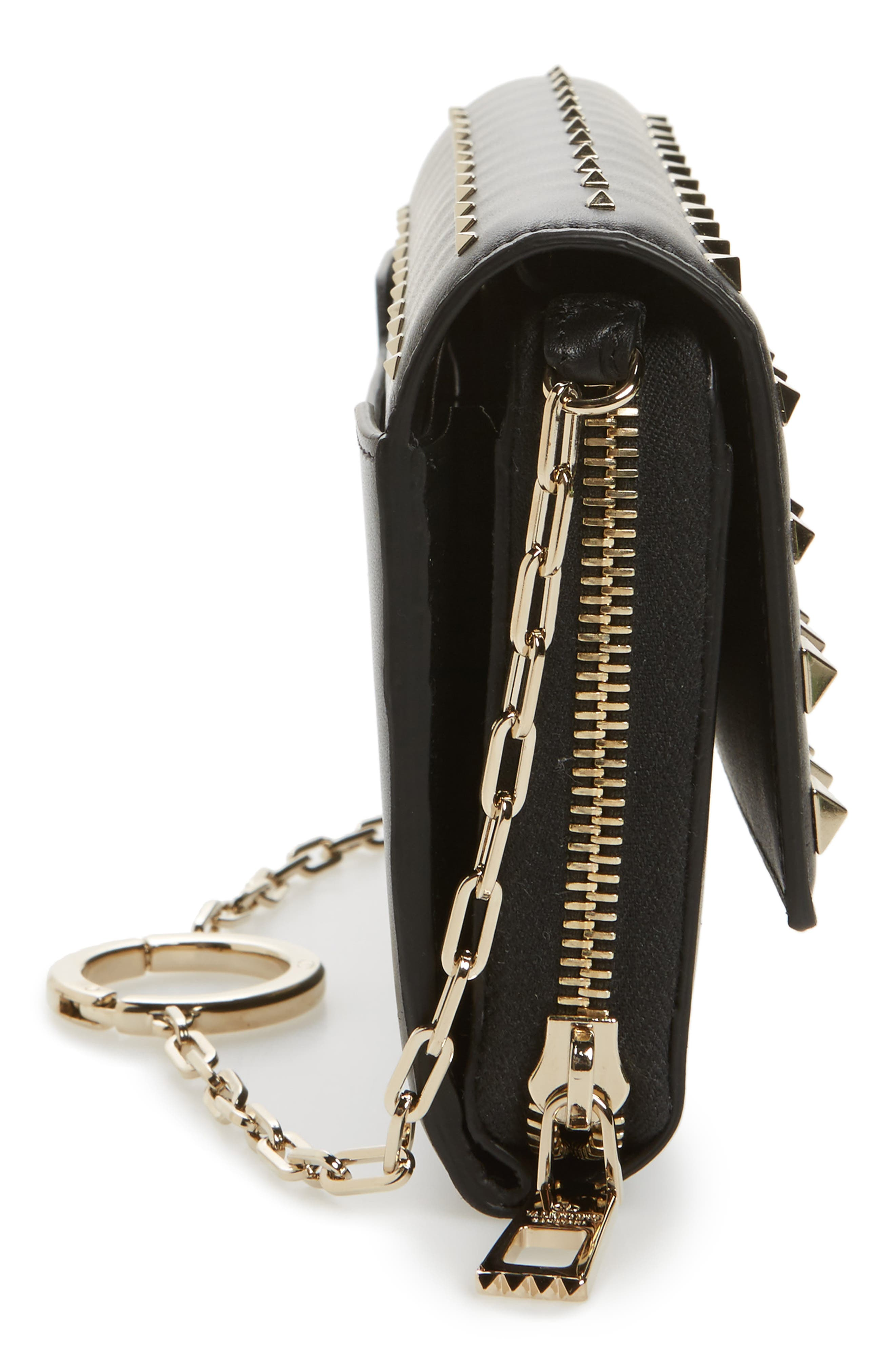 Small Rockstud Calfskin Leather Wallet on a Chain,                             Alternate thumbnail 5, color,                             Nero