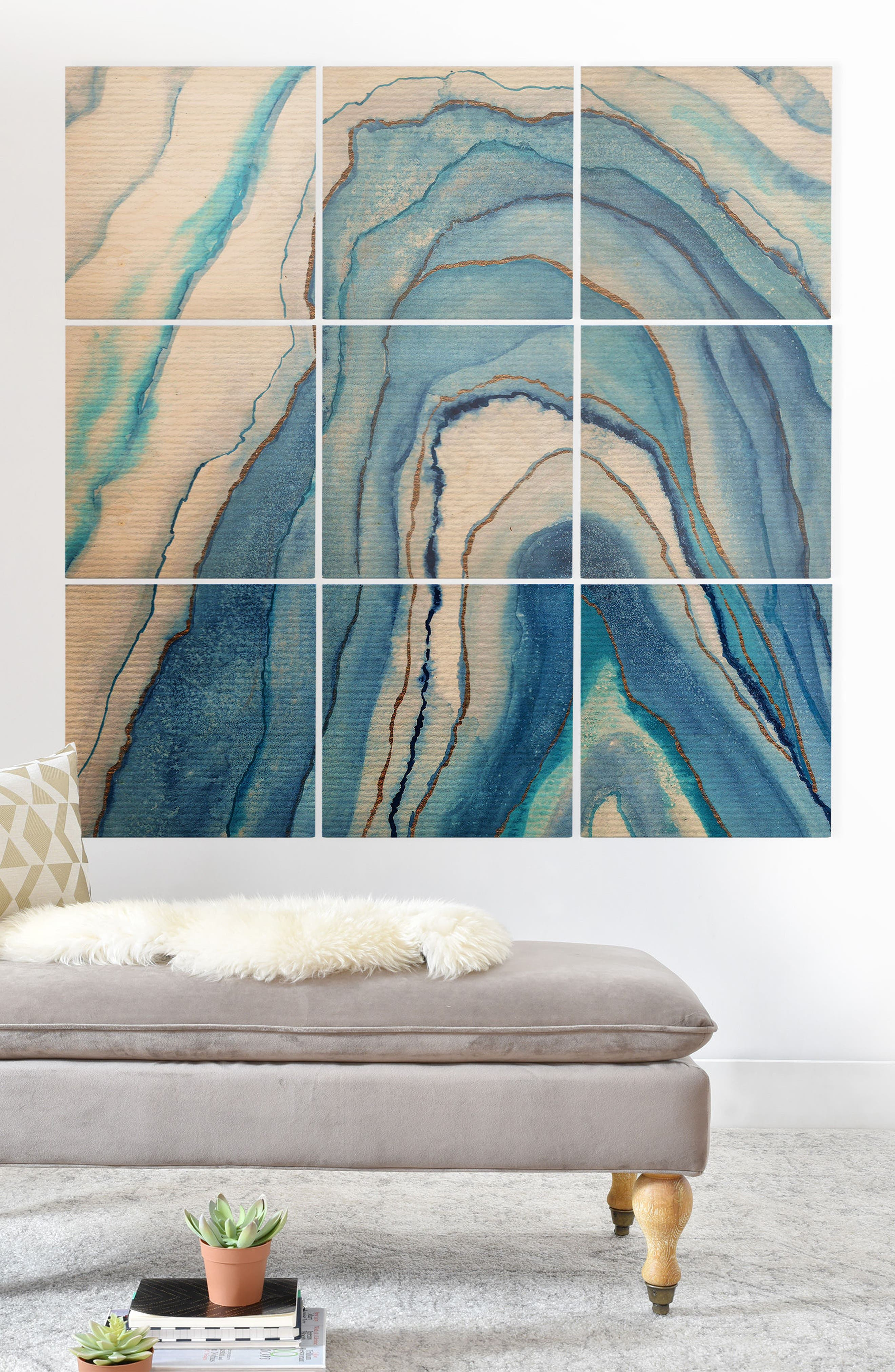 Watercolor 9-Piece Wood Wall Mural,                             Alternate thumbnail 2, color,                             Blue