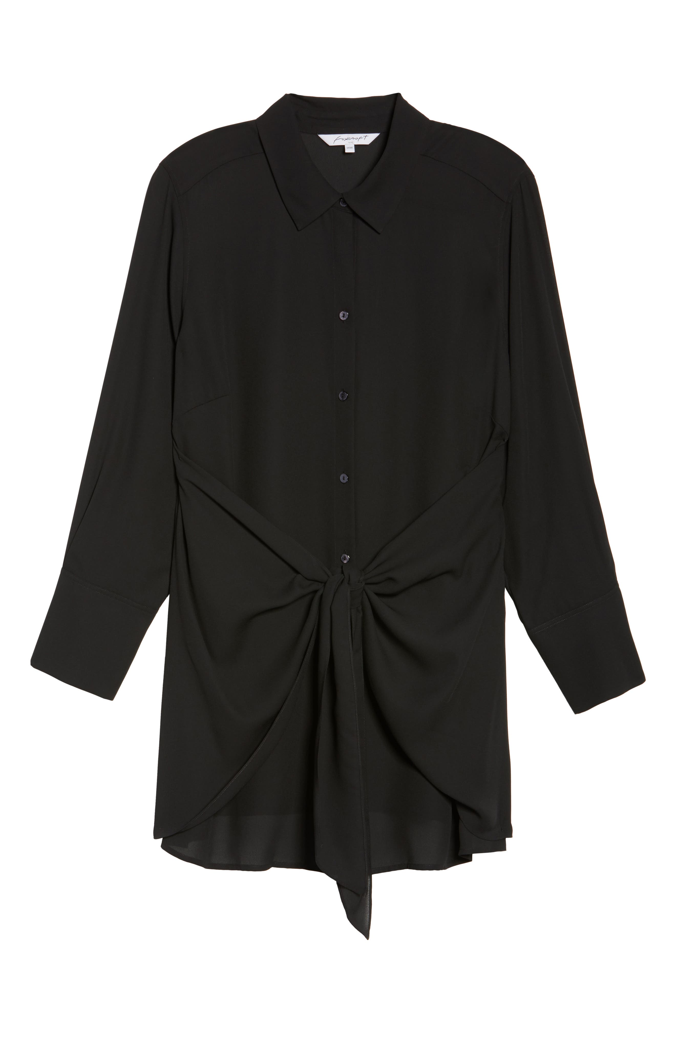 Alternate Image 6  - Foxcroft Serena Knotted Crepe Tunic Blouse (Plus Size)