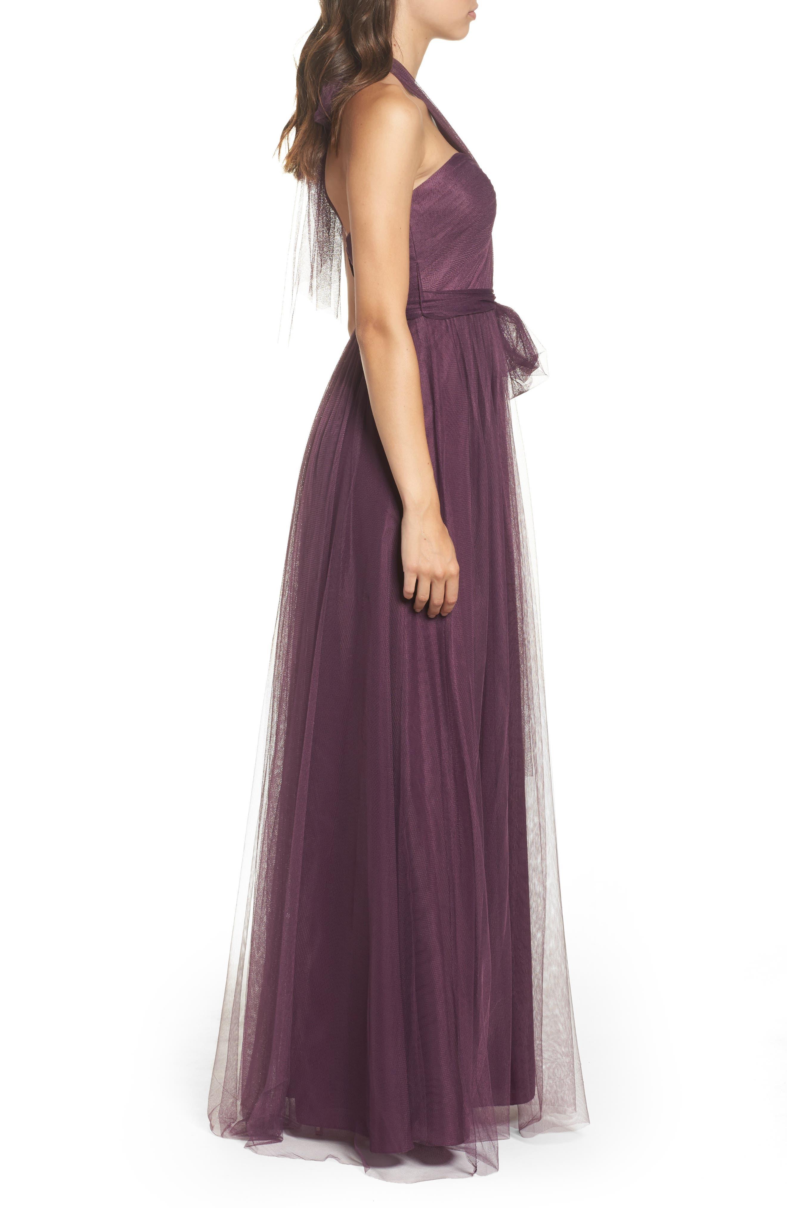 Annabelle Convertible Tulle Column Dress,                             Alternate thumbnail 4, color,                             Raisin