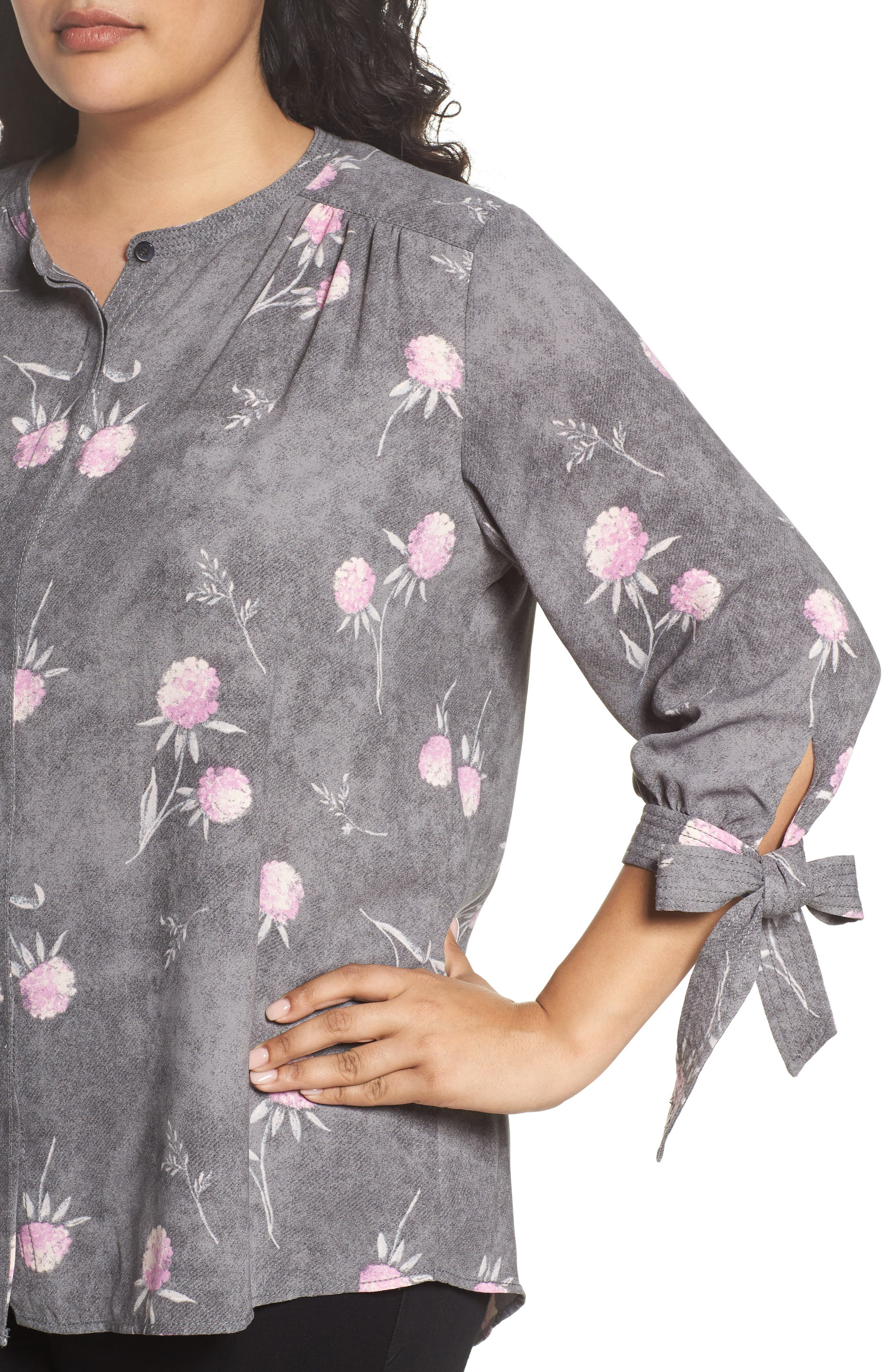 Tie Sleeve Blouse,                             Alternate thumbnail 5, color,                             Grey Enchanted Floral