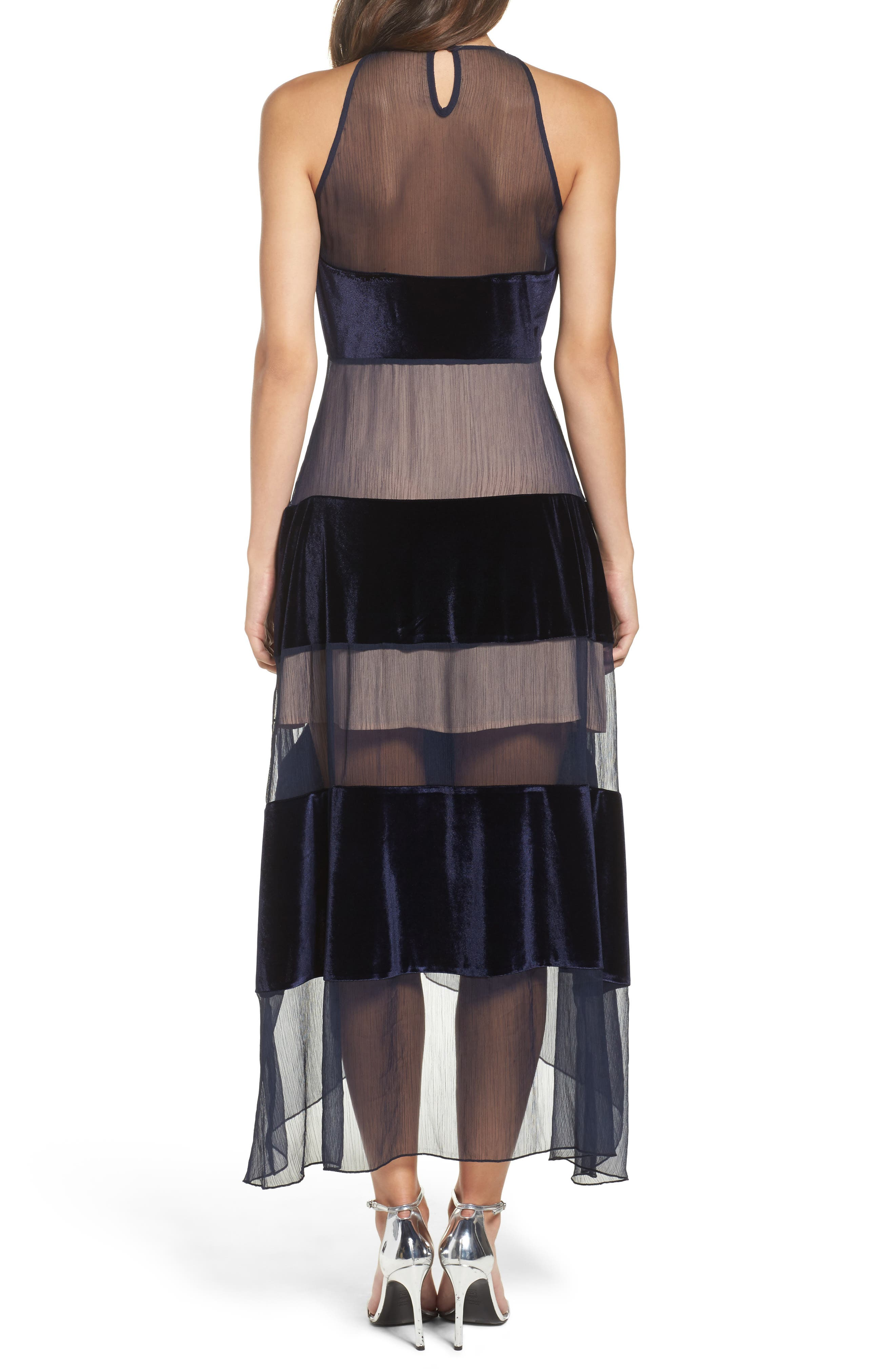 Alternate Image 2  - Foxiedox Velvet Stripe Midi Dress