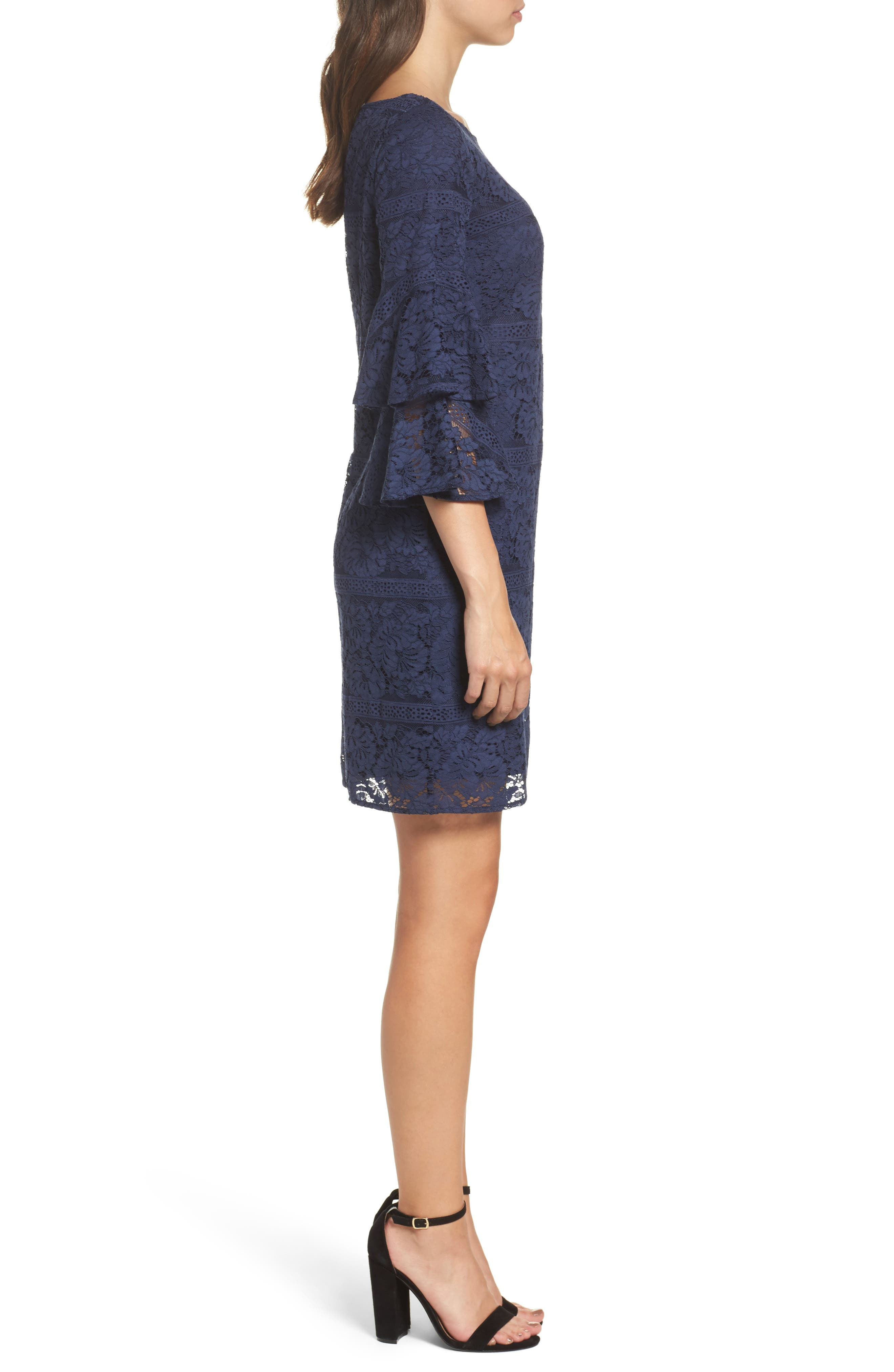 Tiered Sleeve Lace Shift Dress,                             Alternate thumbnail 3, color,                             Navy