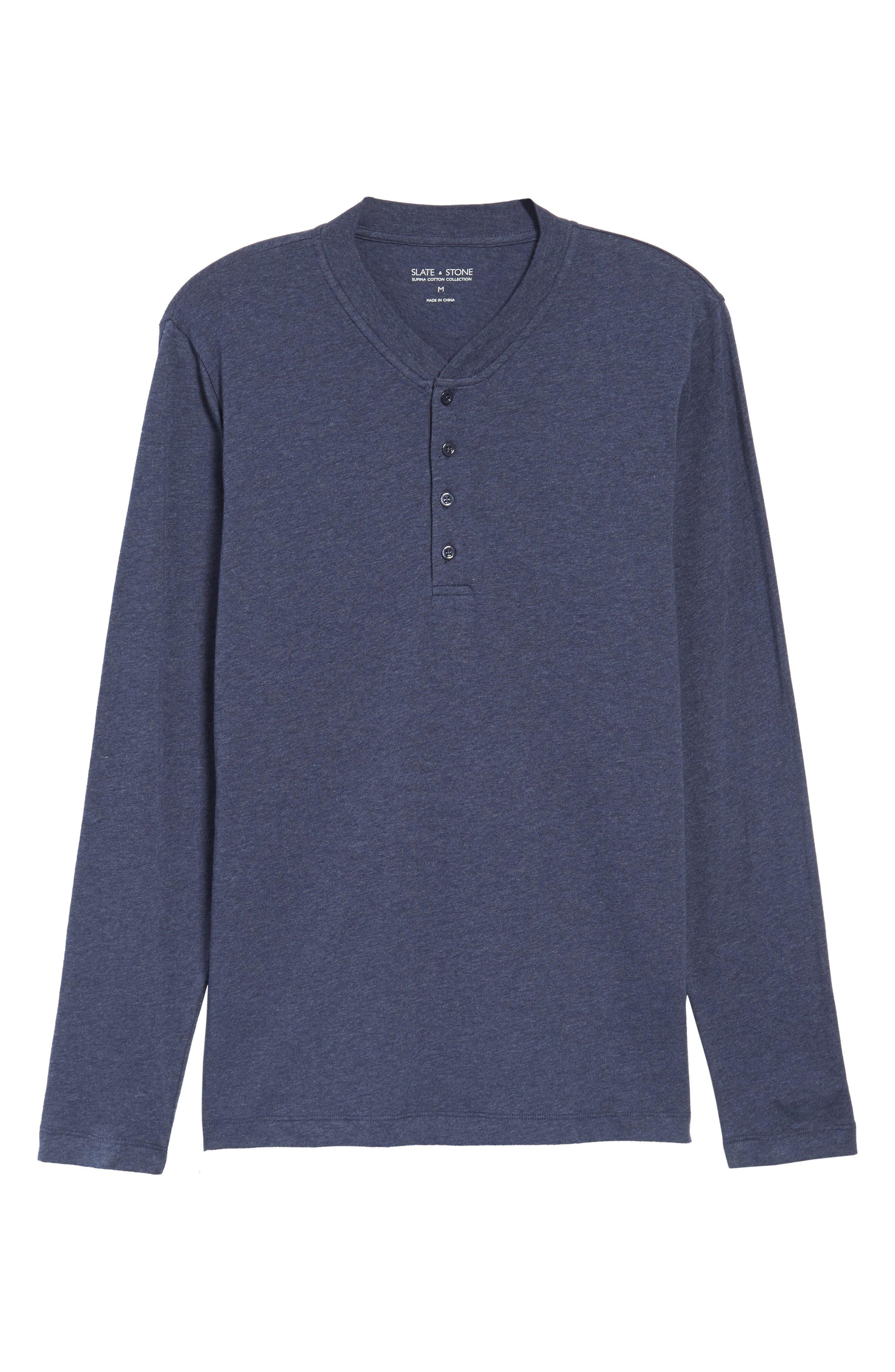 Long Sleeve Henley T-Shirt,                             Alternate thumbnail 6, color,                             Heather Blue