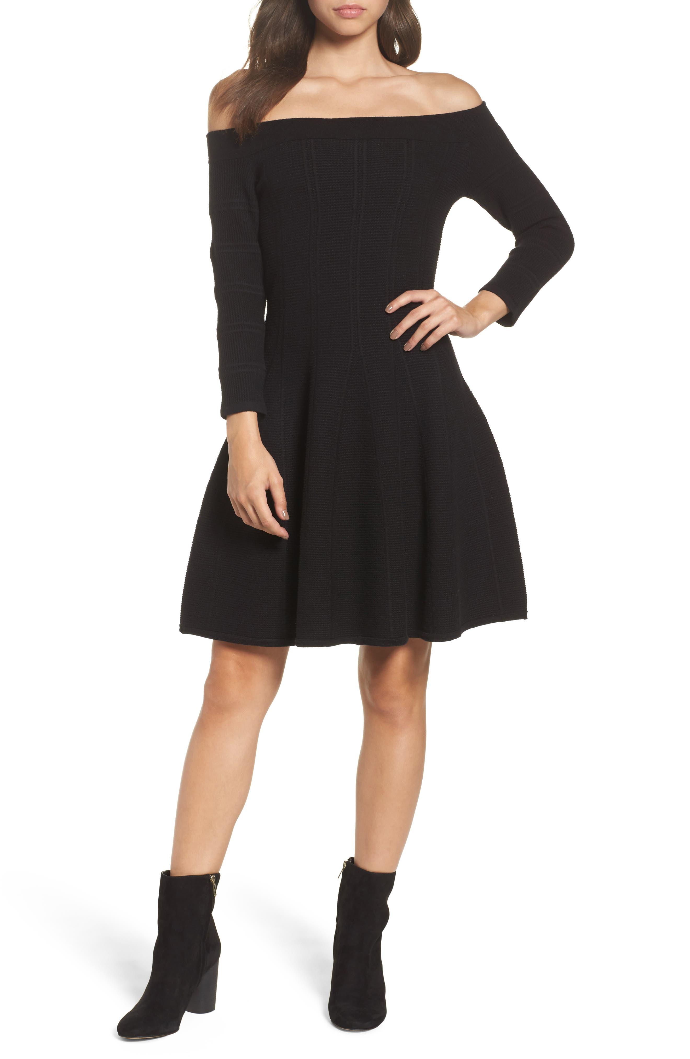Off the Shoulder Fit & Flare Dress,                         Main,                         color, Black