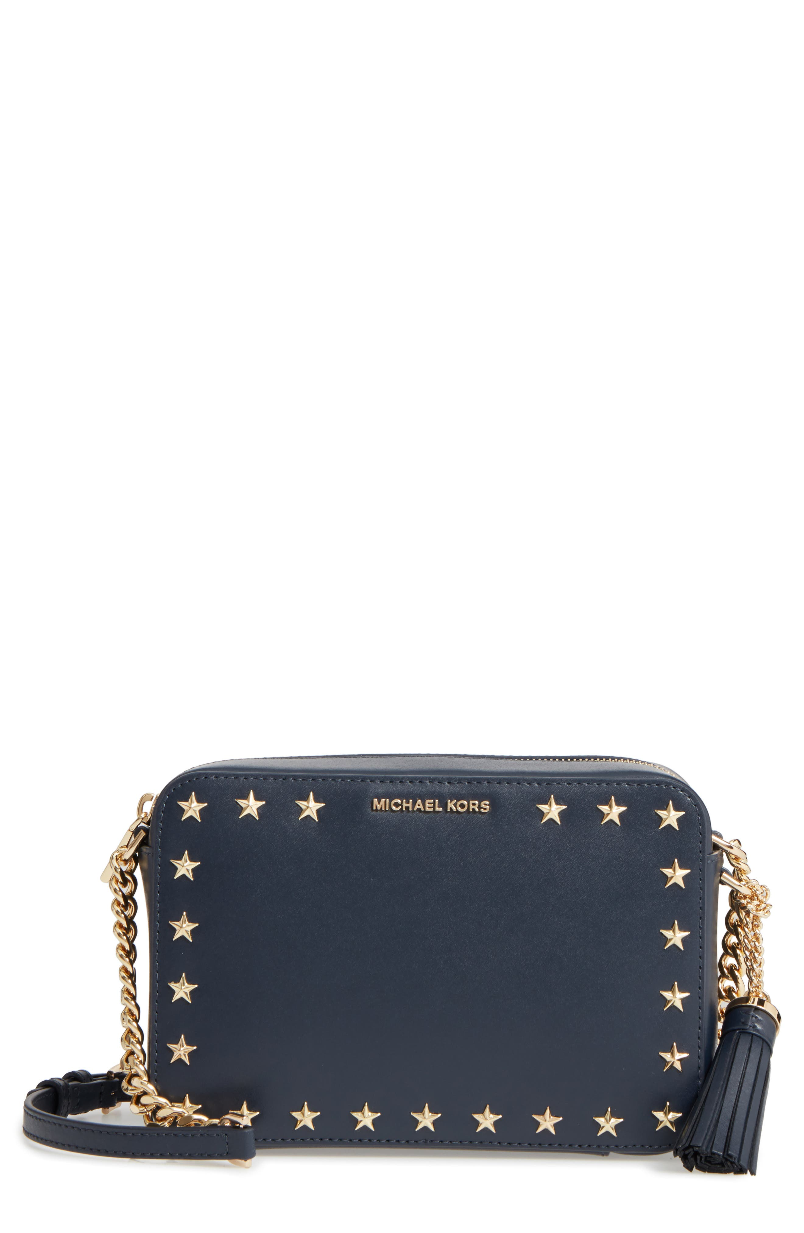 MICHAEL Michael Kors Medium Ginny Star Studded Leather Crossbody Camera Bag