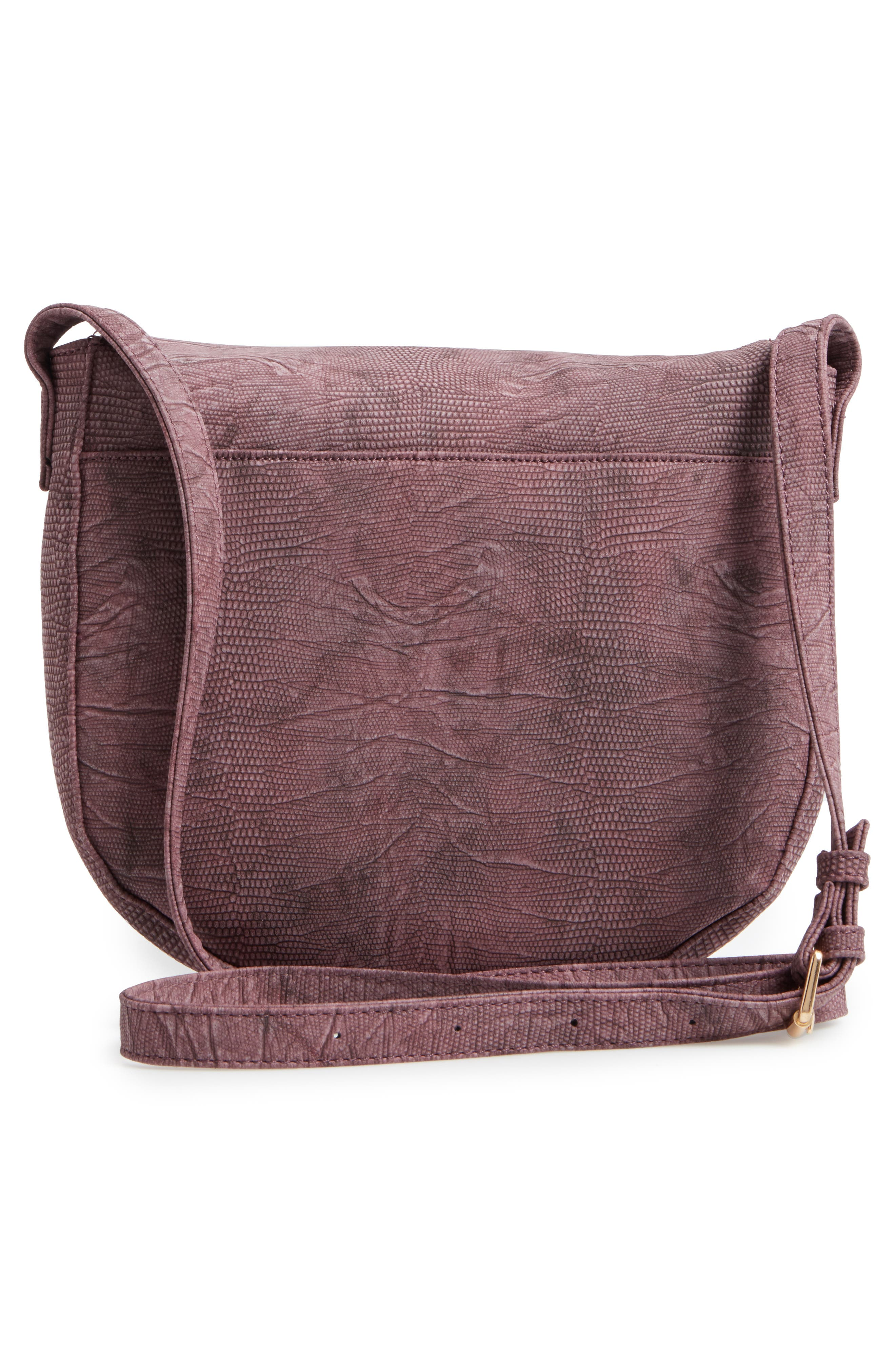 Livvy Faux Leather Crossbody Saddle Bag,                             Alternate thumbnail 3, color,                             Oxblood