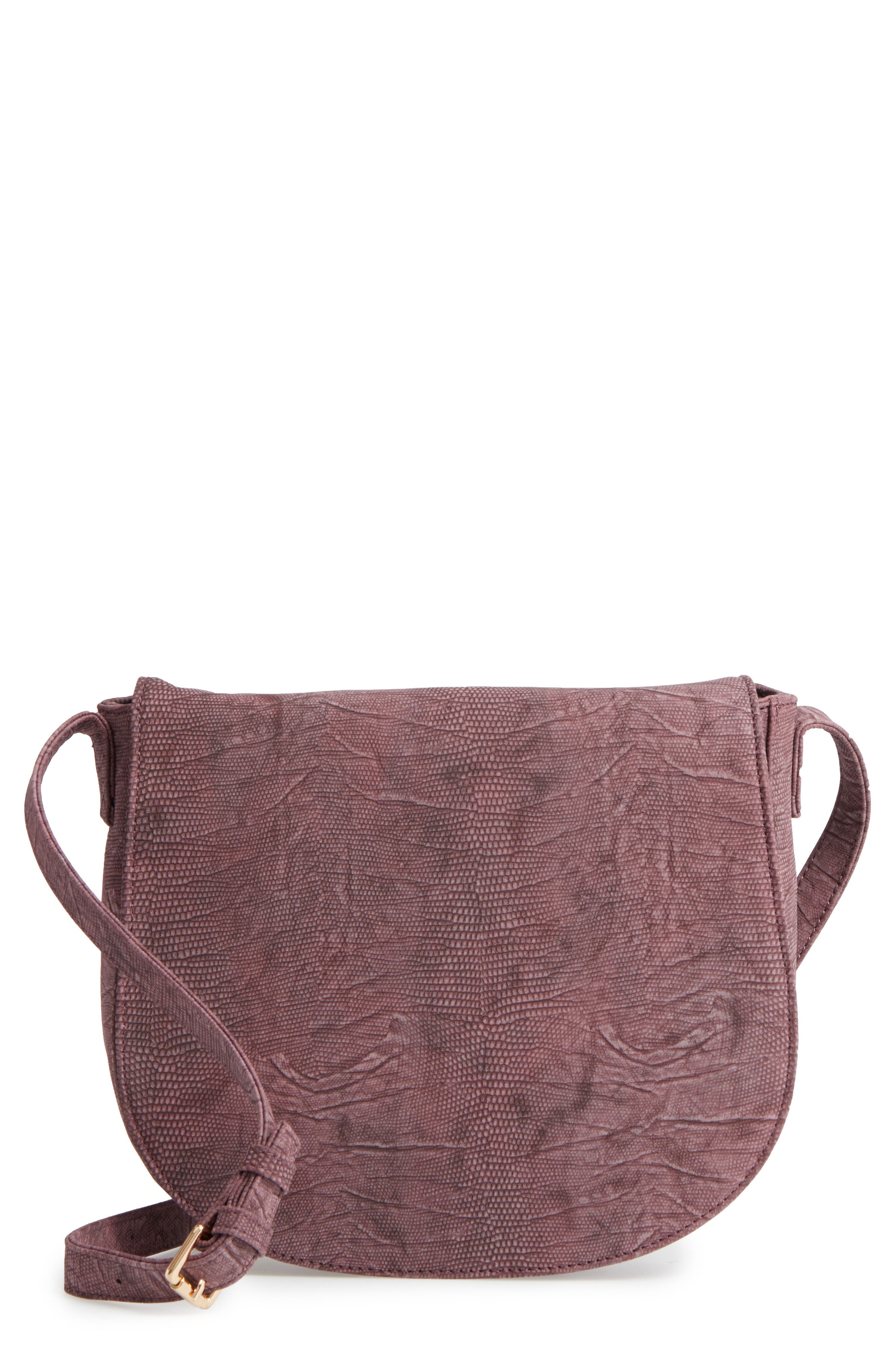 Livvy Faux Leather Crossbody Saddle Bag,                             Main thumbnail 1, color,                             Oxblood