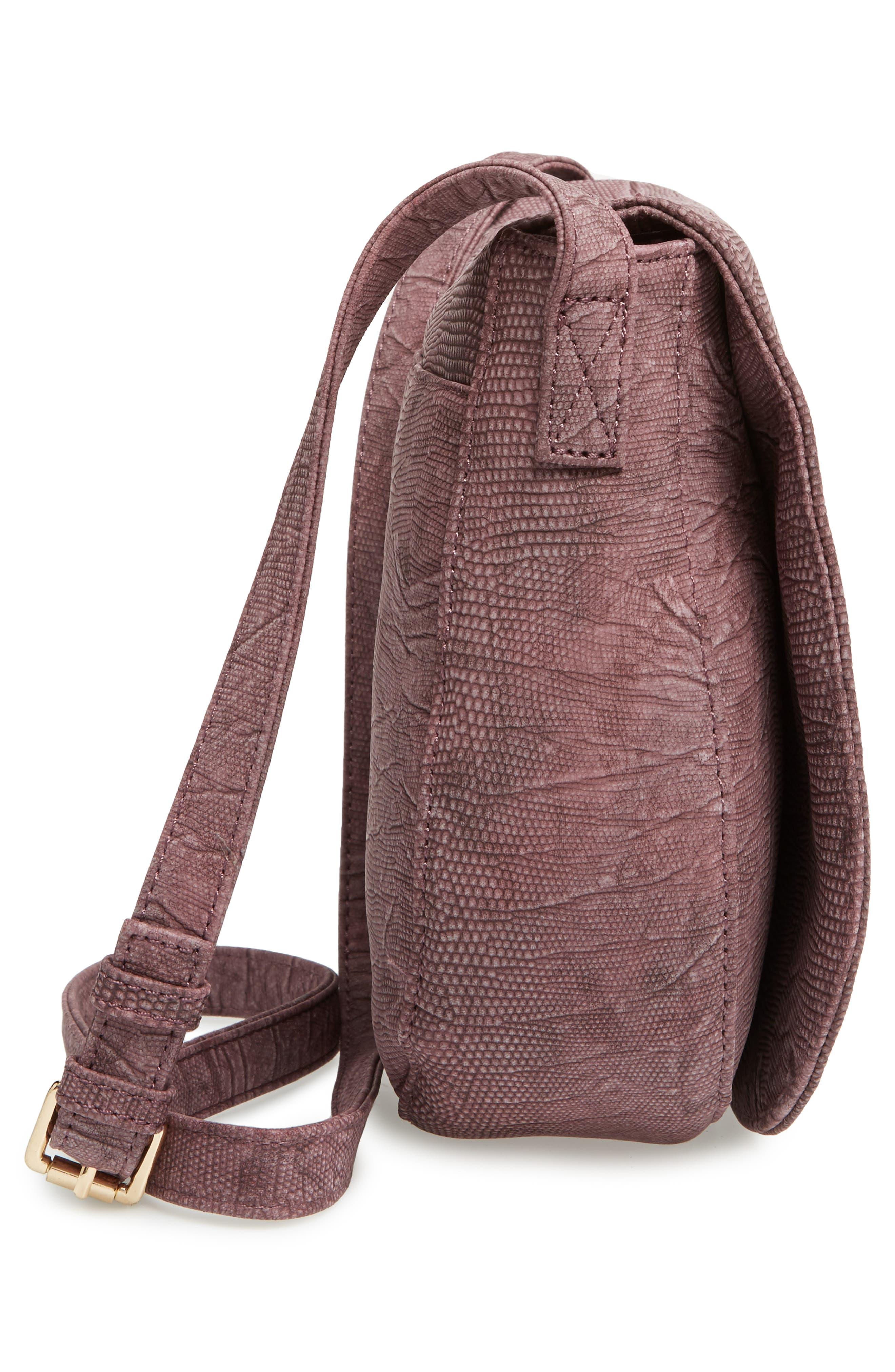 Livvy Faux Leather Crossbody Saddle Bag,                             Alternate thumbnail 5, color,                             Oxblood