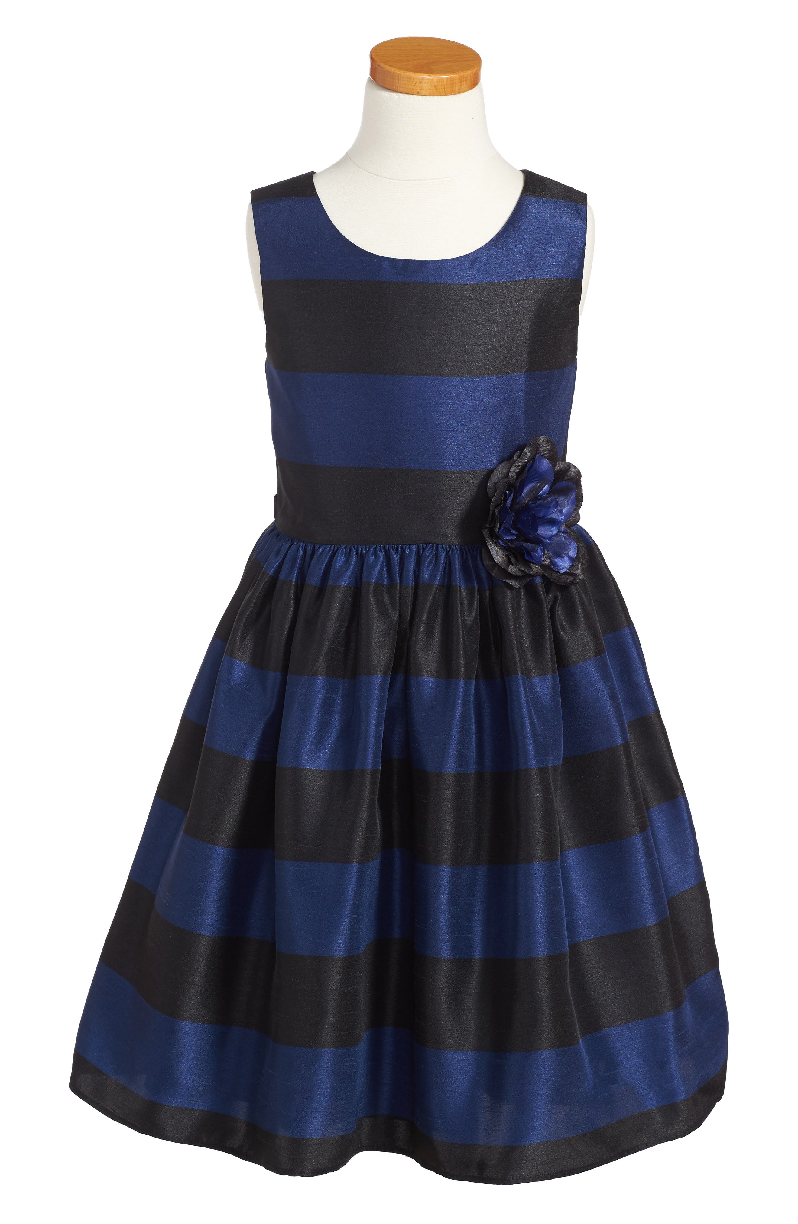 Stripe Fit & Flare Dress,                         Main,                         color, Black/ Navy