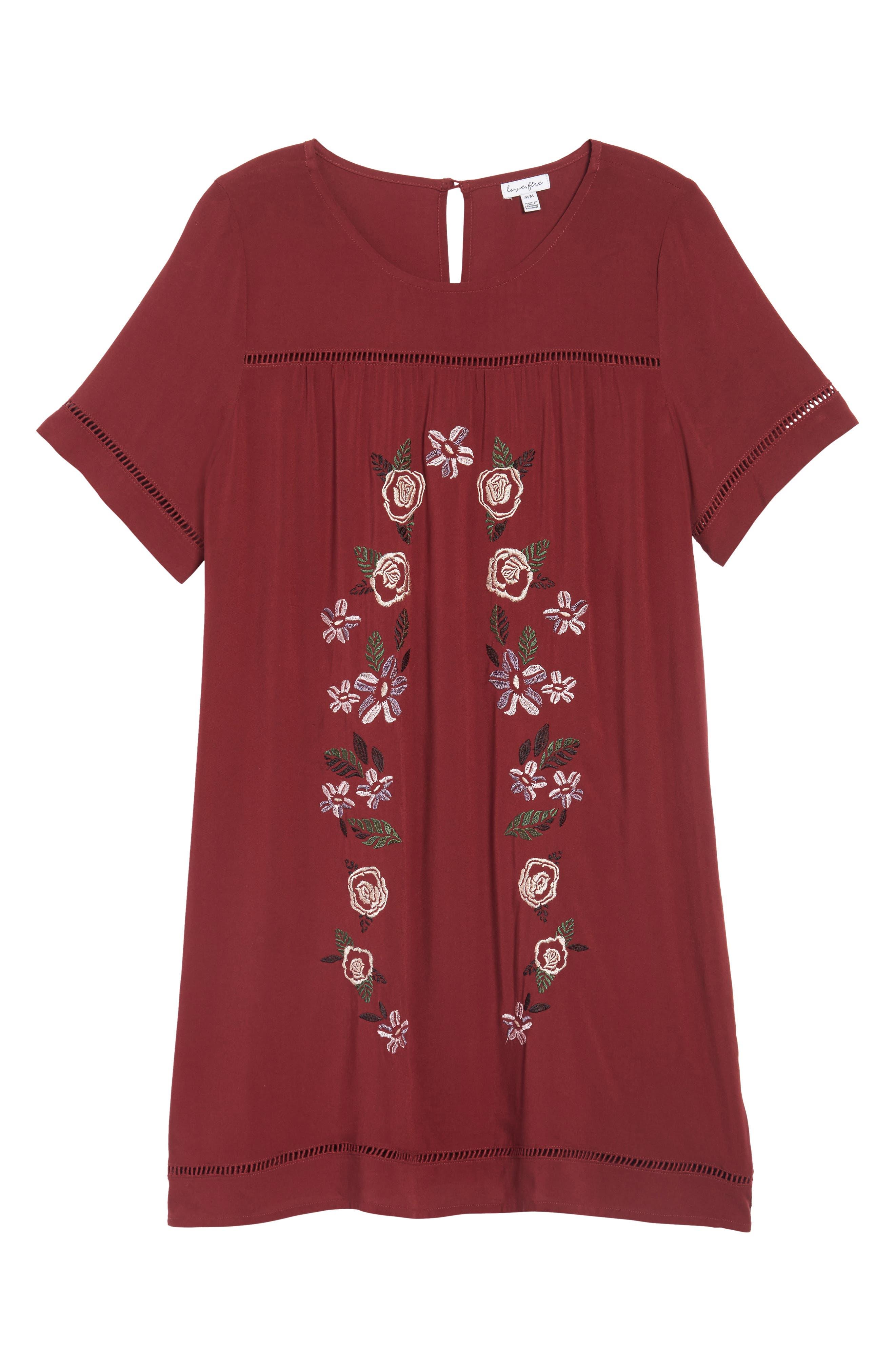 Embroidered Dress,                             Alternate thumbnail 6, color,                             Zinfandel