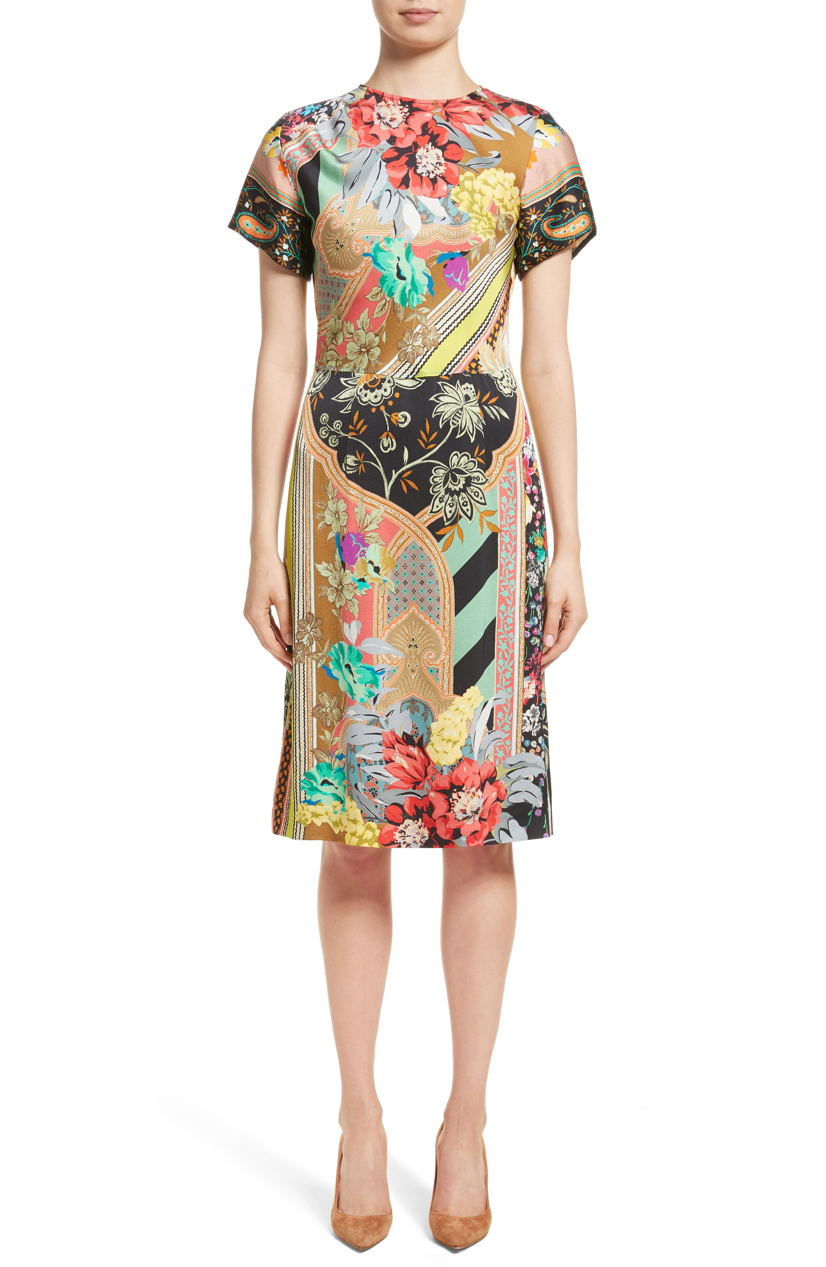 Pillar Paisley Print Dress,                             Main thumbnail 1, color,                             Black