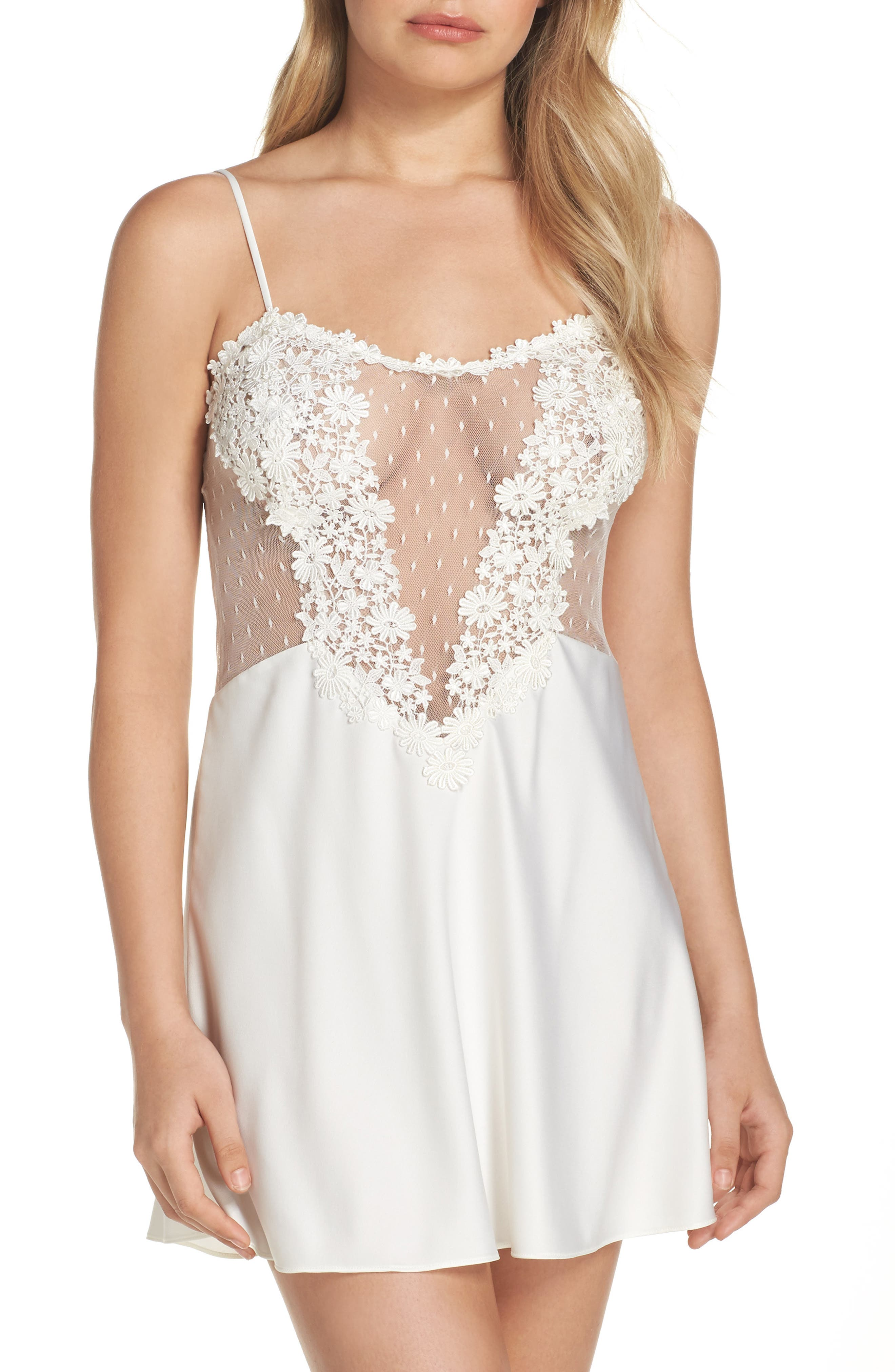 FLORA NIKROOZ Showstopper Venise Lace Chemise in Ivory