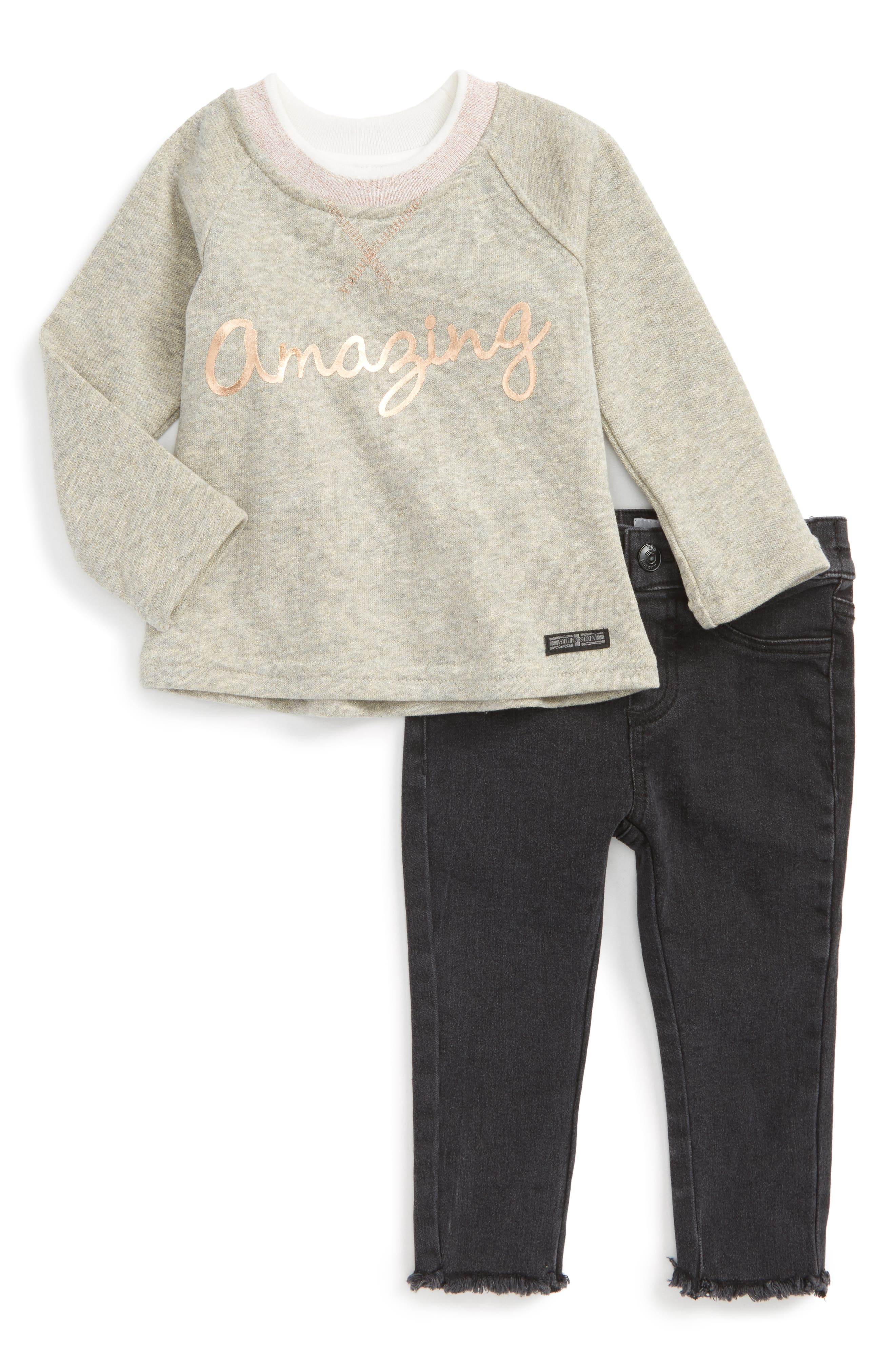 Hudson Kids French Terry Pullover & Jeans Set (Baby Girls)