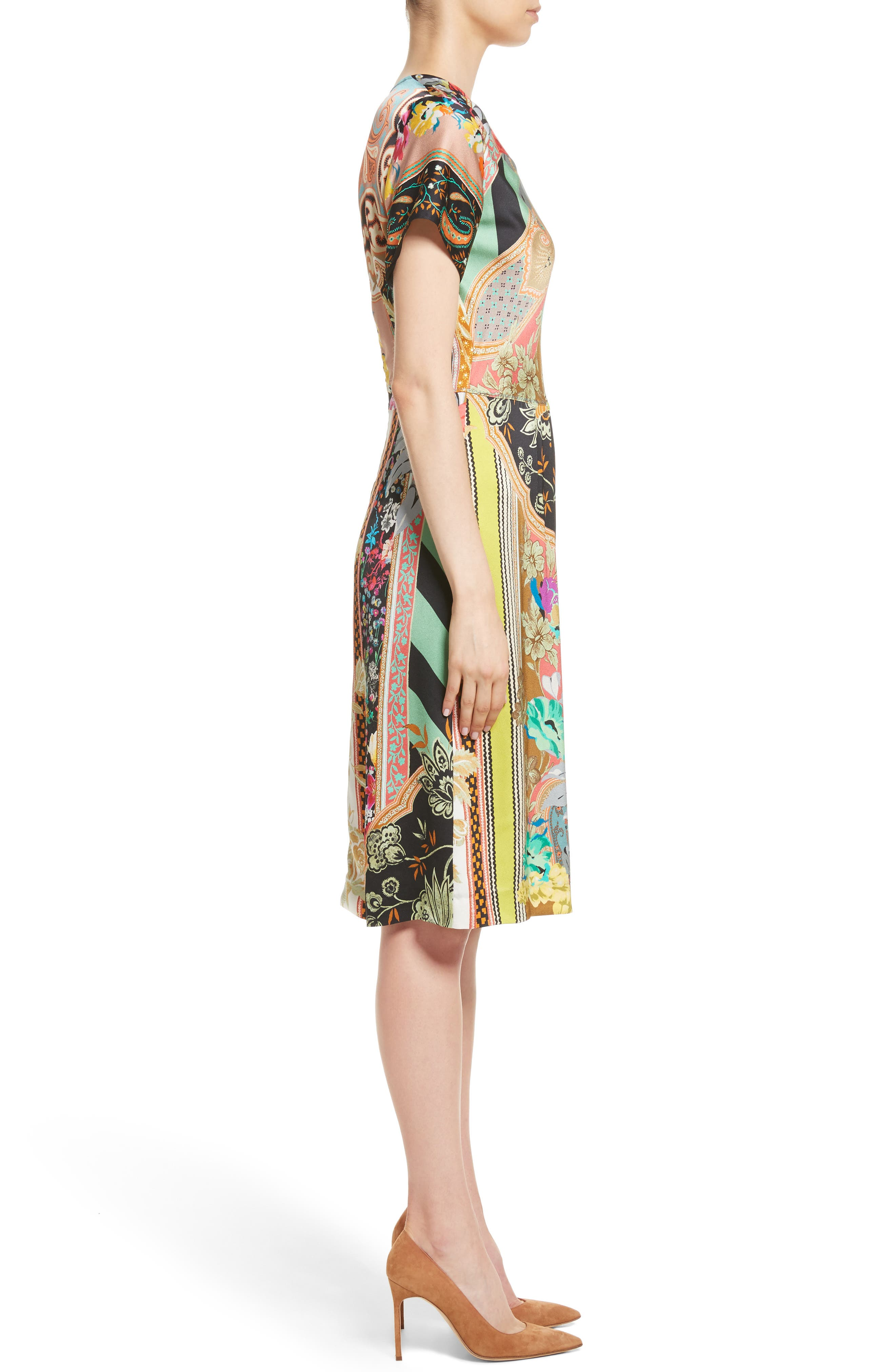 Pillar Paisley Print Dress,                             Alternate thumbnail 3, color,                             Black