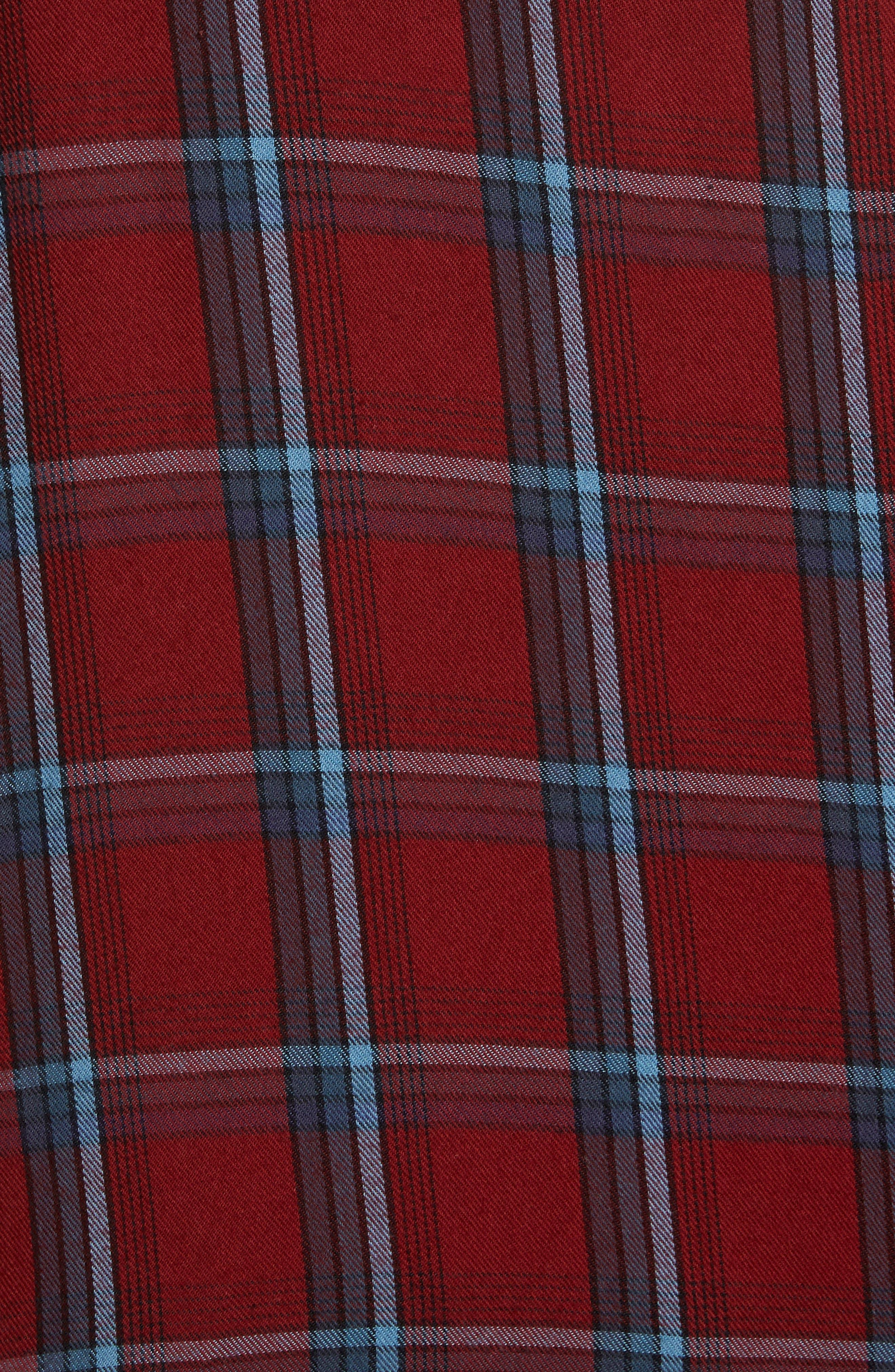 Ruffle Plaid Boyfriend Shirt,                             Alternate thumbnail 5, color,                             Red Syrah Three Box Tartan
