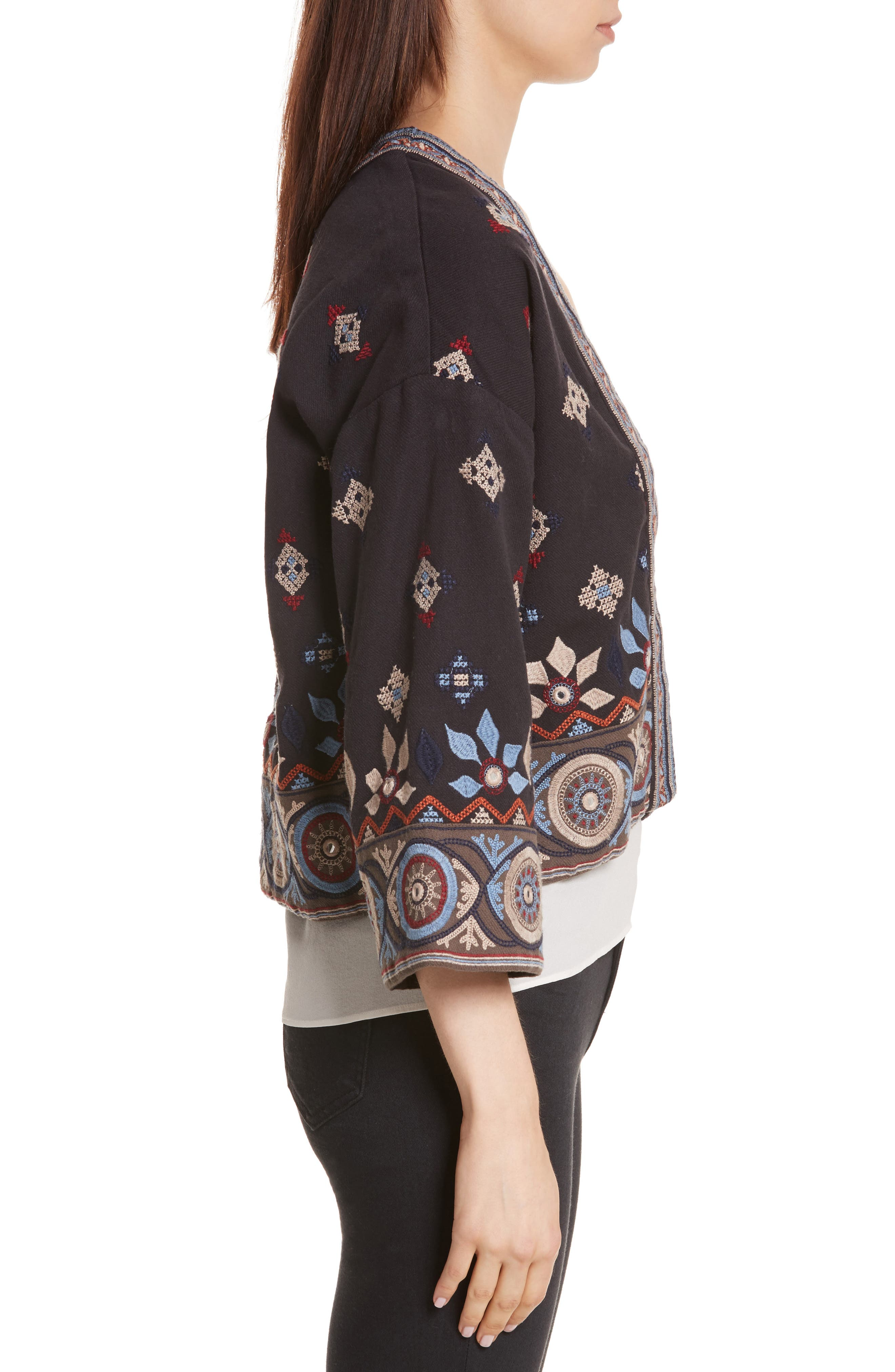 Brianny Embroidered Cardigan,                             Alternate thumbnail 3, color,                             Caviar
