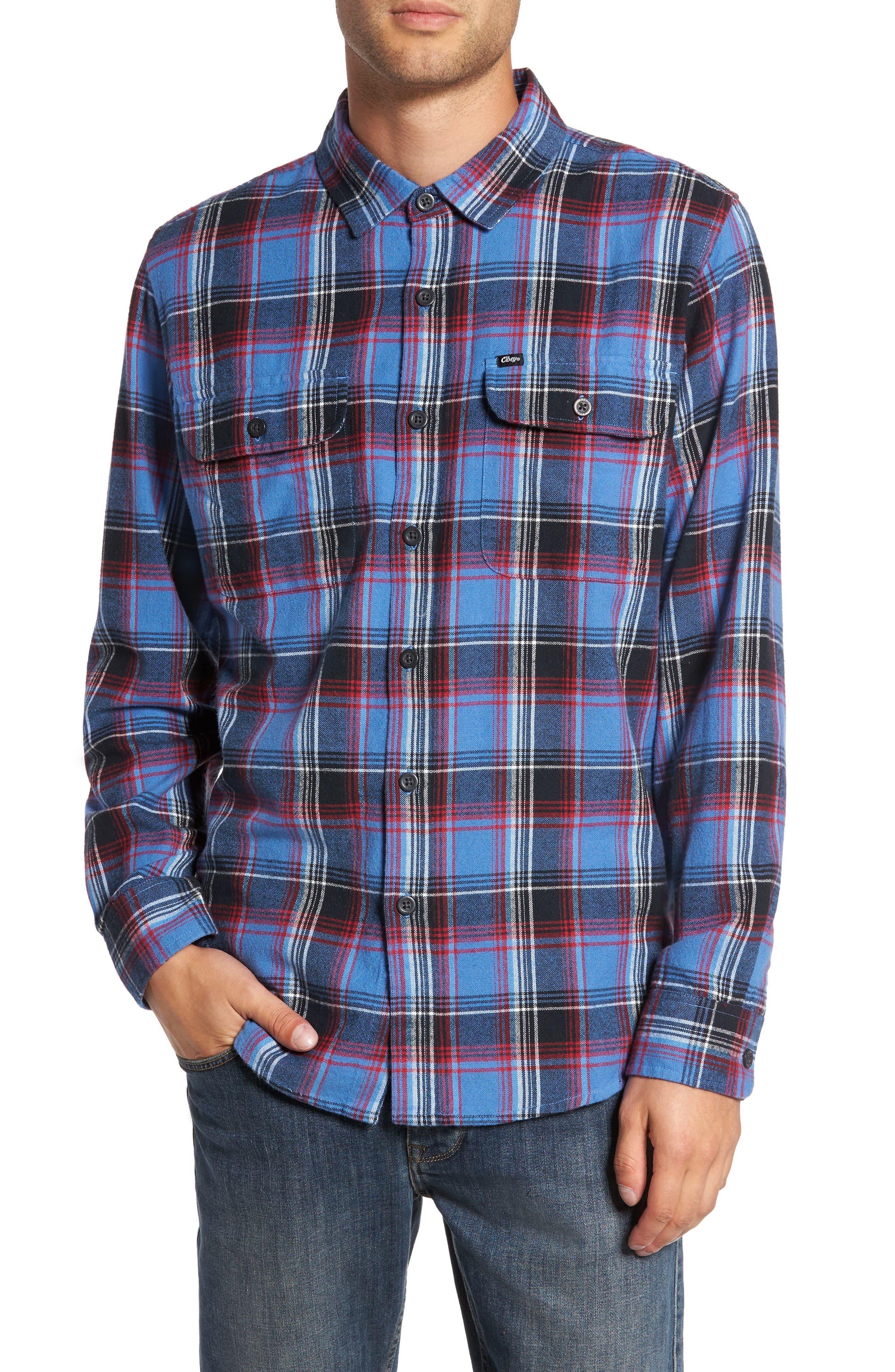 Marvyn Plaid Woven Shirt,                         Main,                         color, Navy Multi