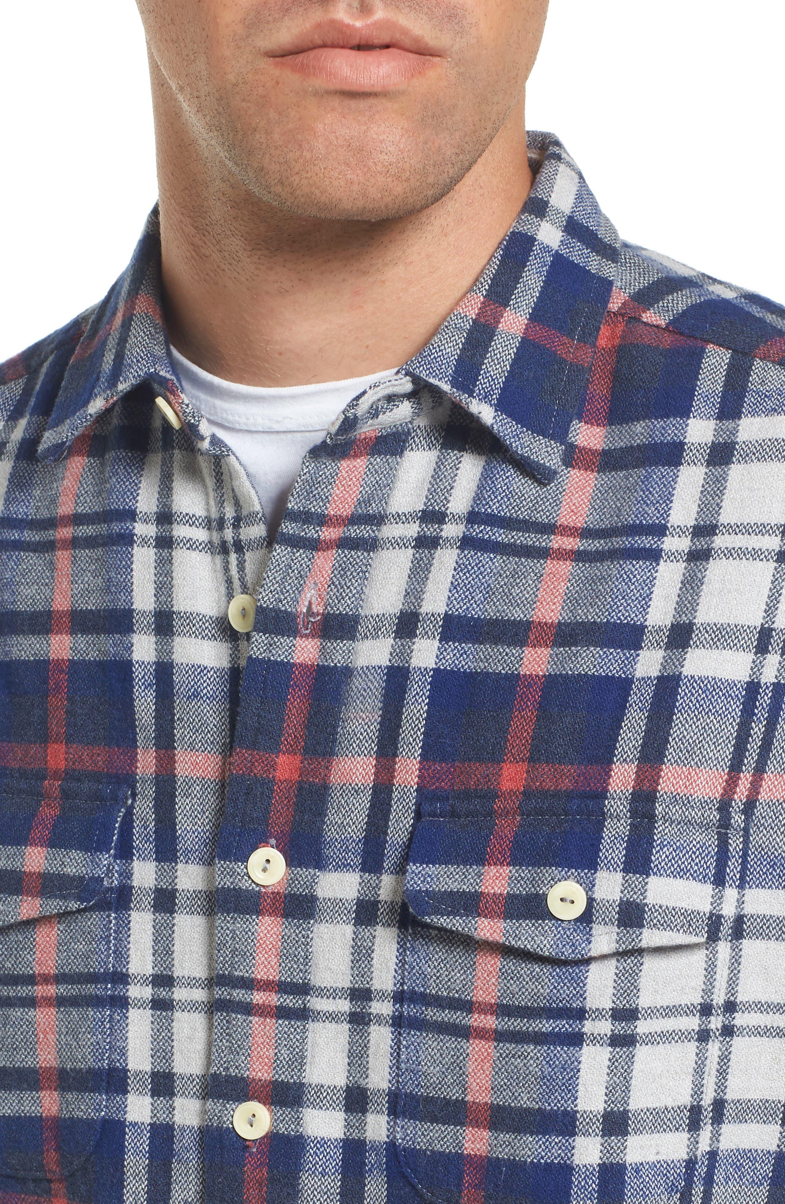 Alternate Image 4  - Grayers Bisney Modern Fit Texture Flannel Sport Shirt