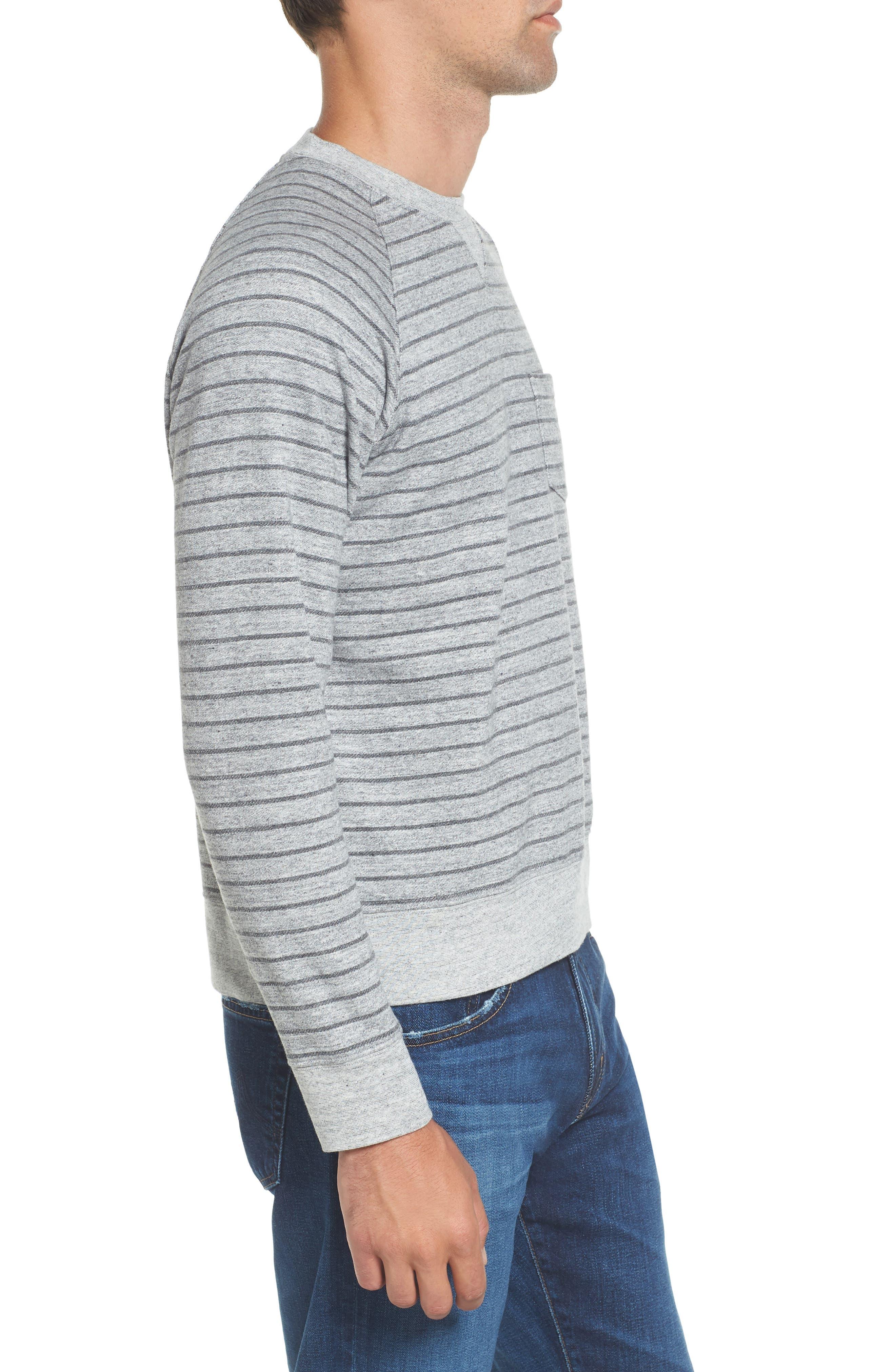 Palmer Modern Fit Athletic Stripe Sweatshirt,                             Alternate thumbnail 5, color,                             Gray Heather / Charcoal