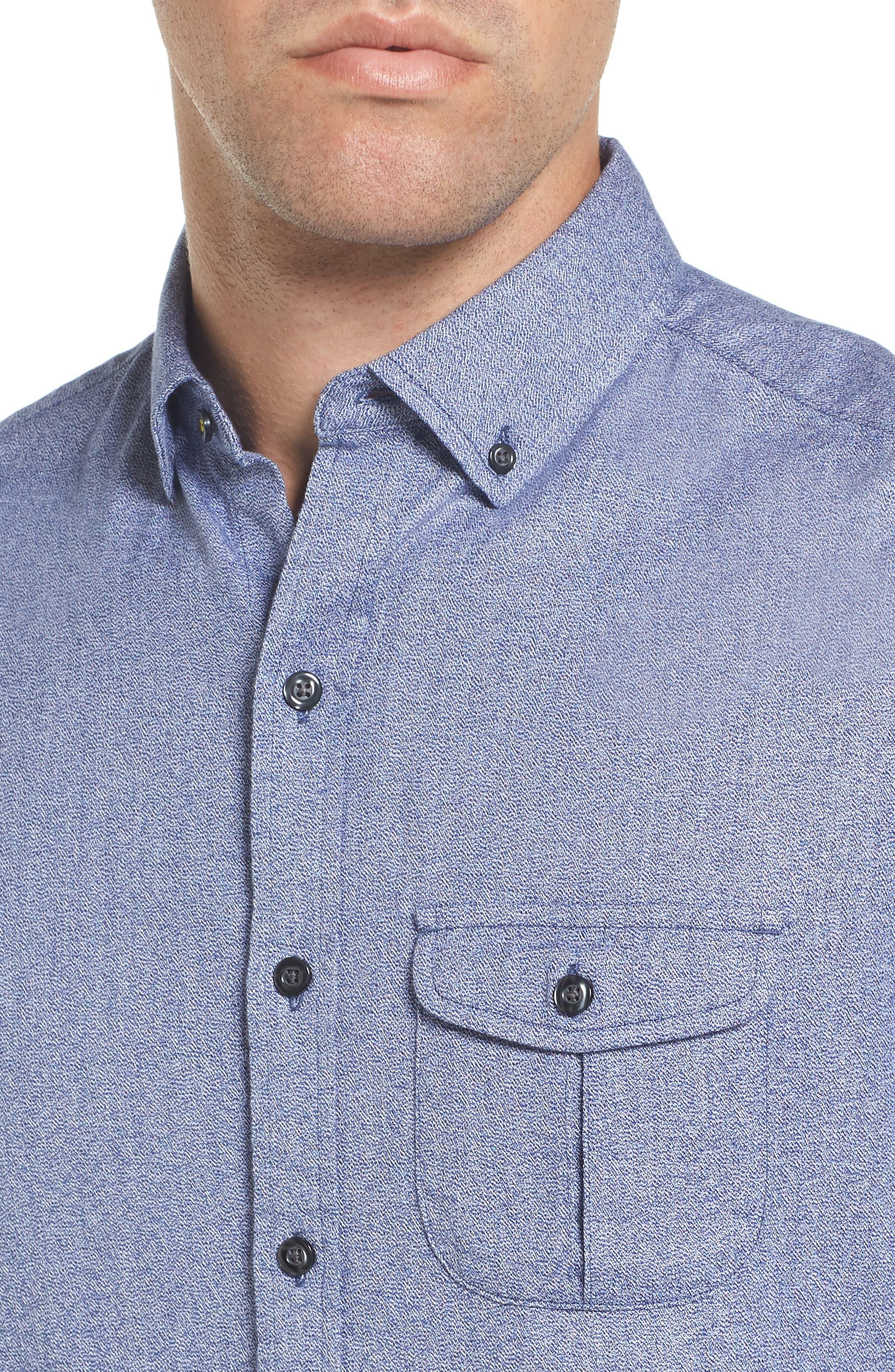 Jaspe Trim Fit Heather Sport Shirt,                             Alternate thumbnail 4, color,                             Blue Ink