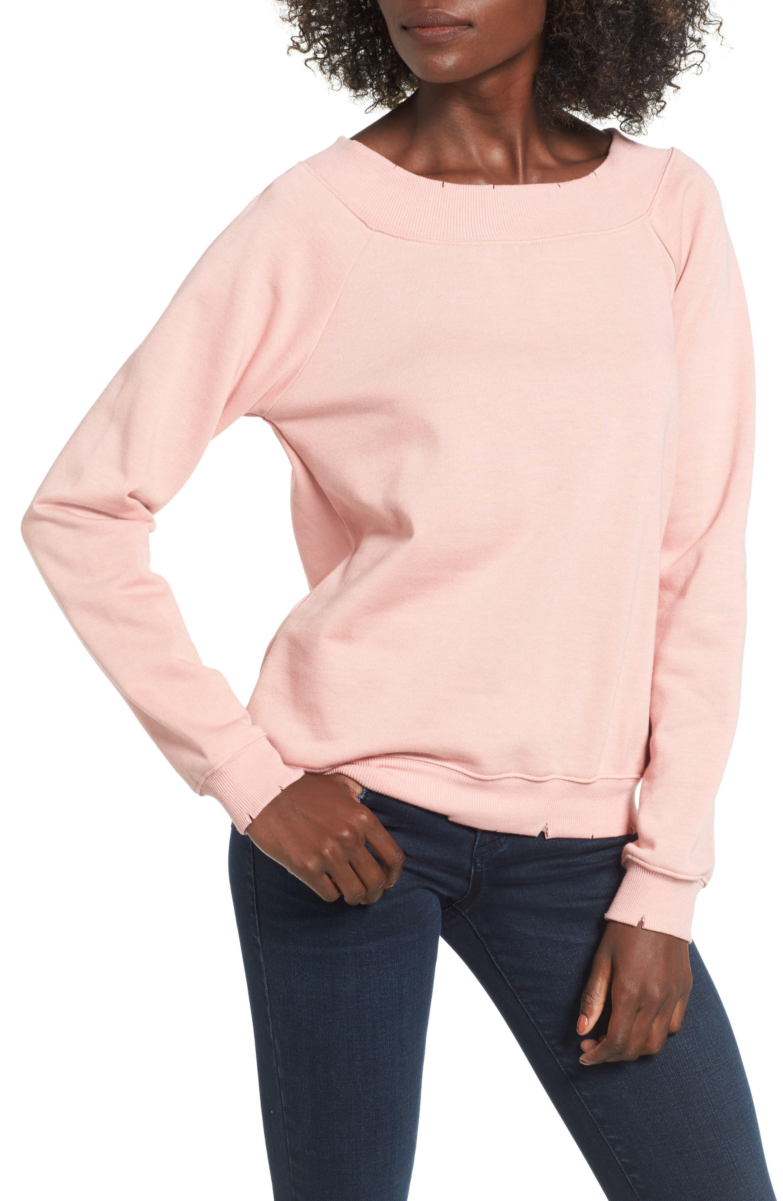 Cut Edge Sweatshirt,                         Main,                         color, Blush