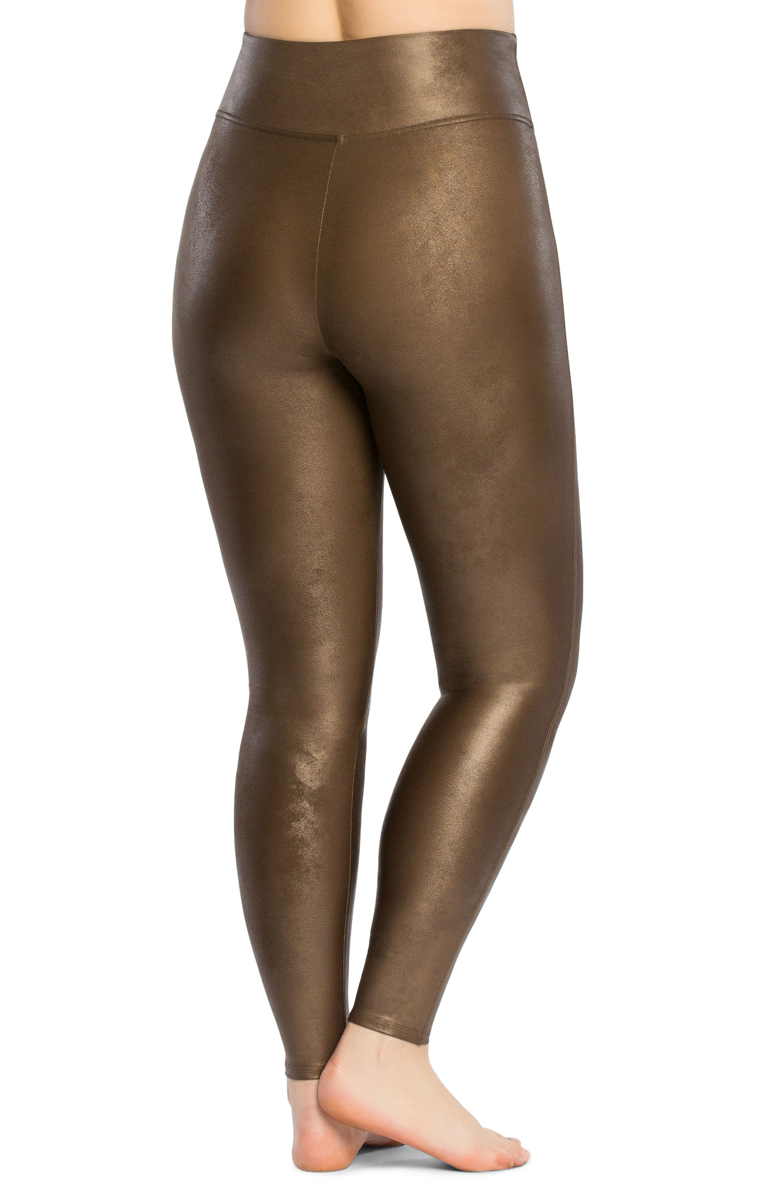 Alternate Image 2  - SPANX® Faux Leather Leggings (Plus Size)