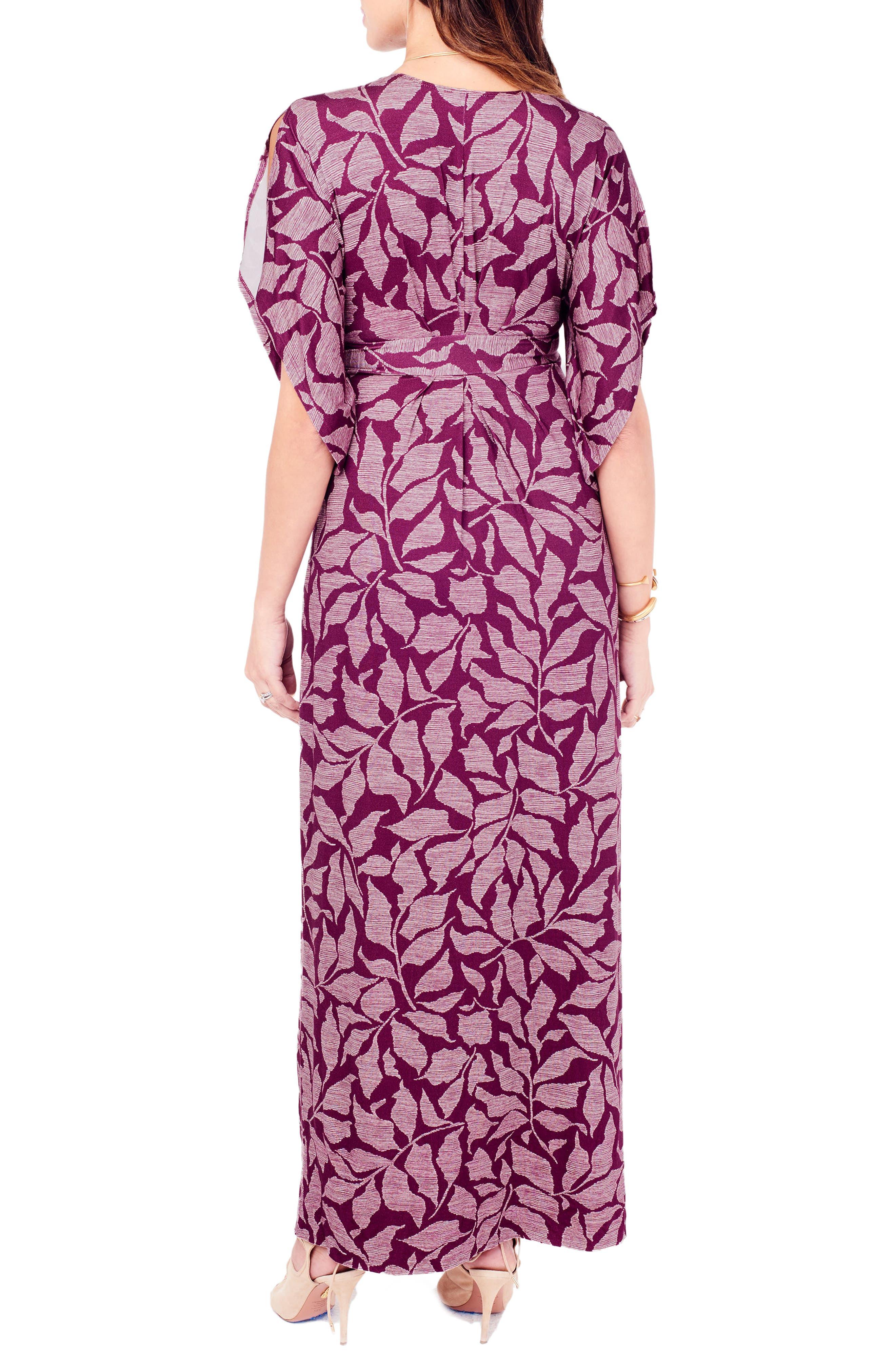 Ingrid & Isabel Split Kimono Sleeve Maternity Maxi Dress,                             Alternate thumbnail 3, color,                             Plum Leaf Print