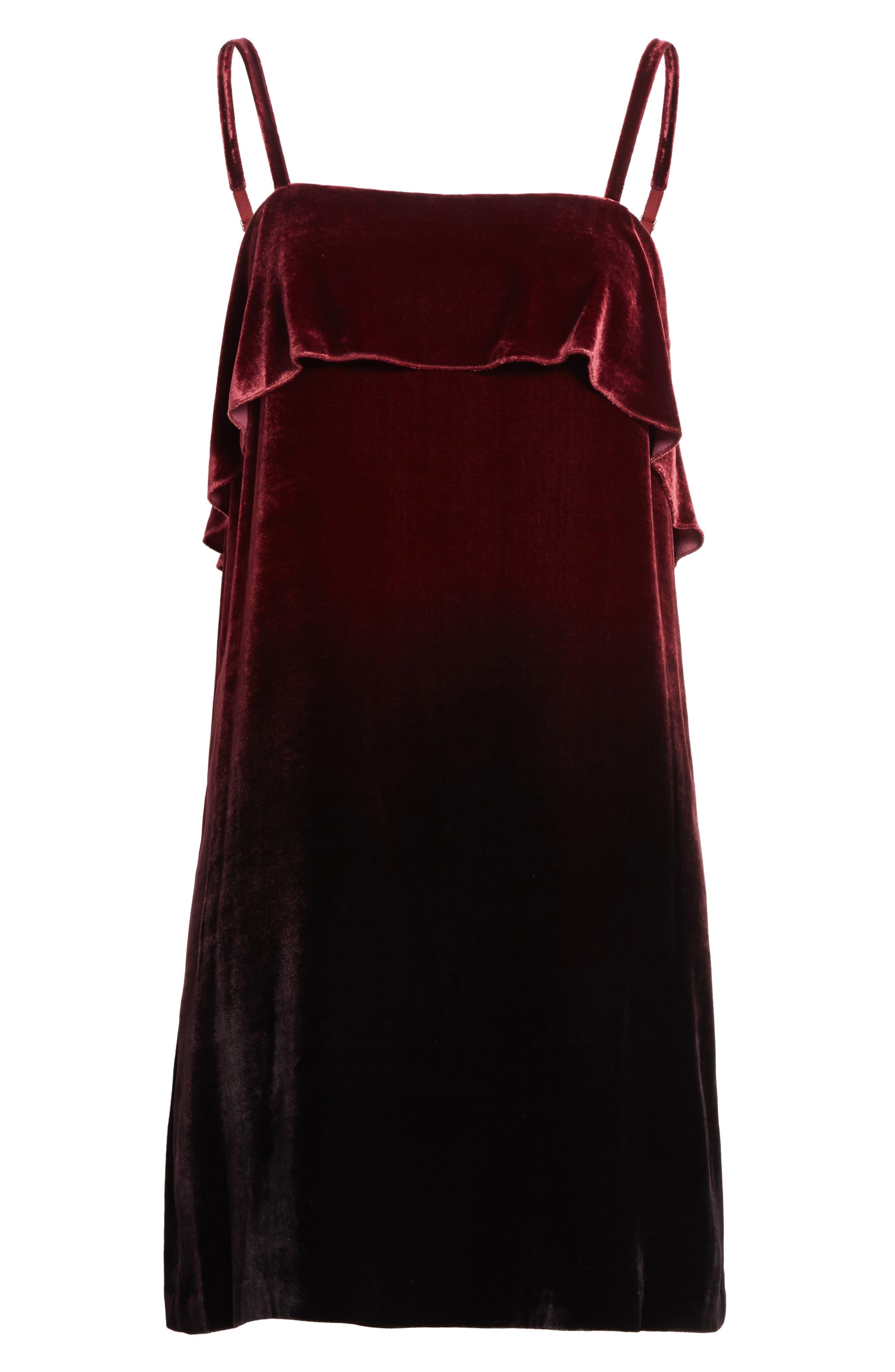 Ruffle Bodice Velvet Dress,                             Alternate thumbnail 6, color,                             Wine