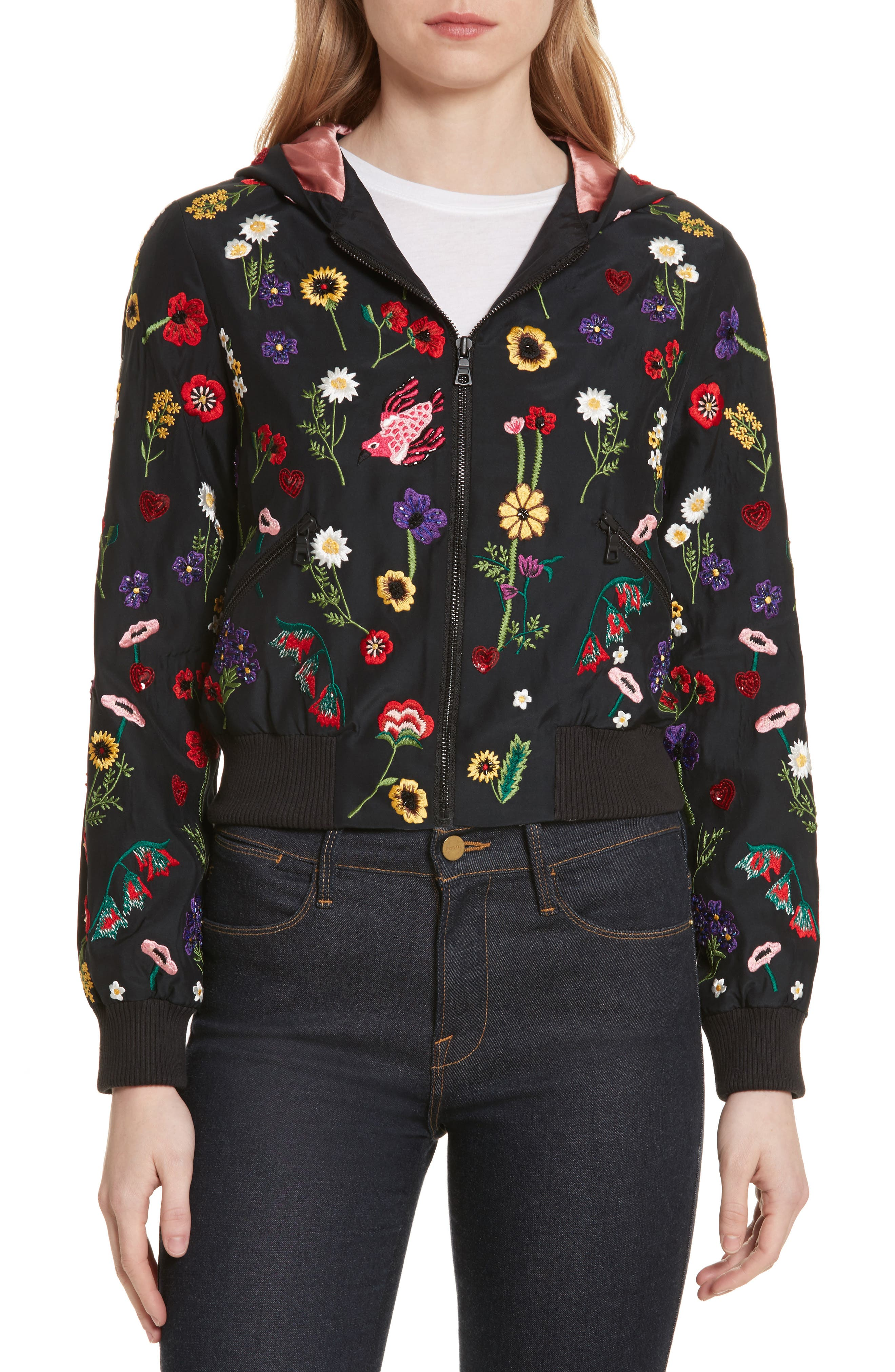 Lonnie Embroidered Hooded Silk Bomber Jacket,                         Main,                         color, Black/ Multi